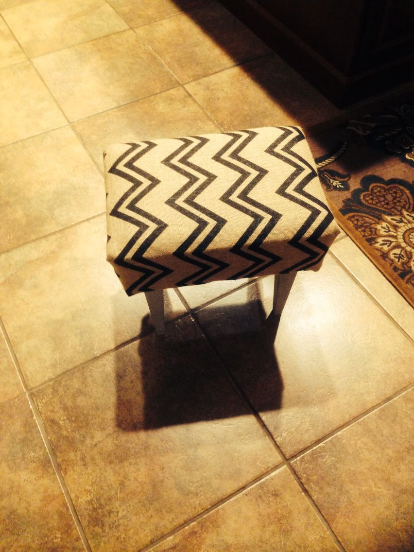 Foot Stool Recovered In Burlap Chevron Fabric (View 12 of 25)