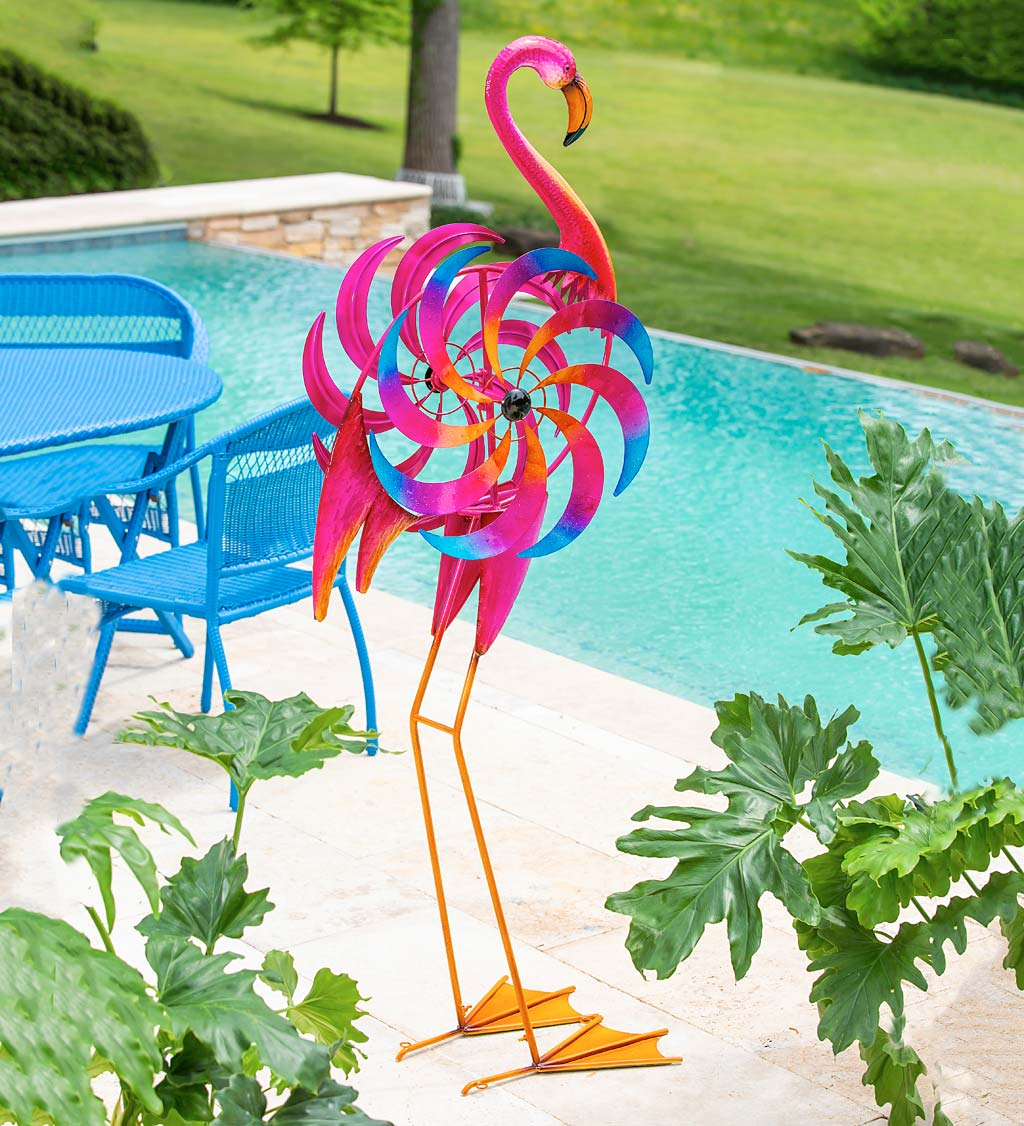 Free Standing Pink Flamingo Wind Spinner Throughout Flamingo Metal Garden Benches (View 12 of 25)