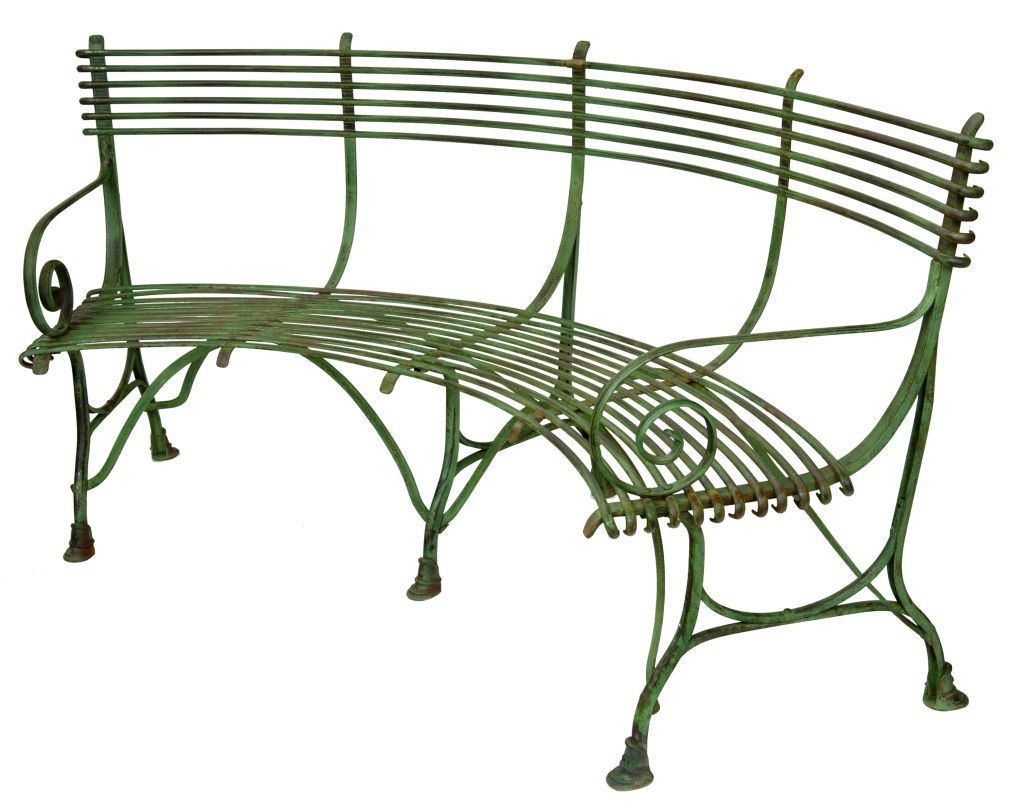 French Green Iron Curved Garden Bench With Scroll Arms And With Regard To Blooming Iron Garden Benches (View 25 of 25)
