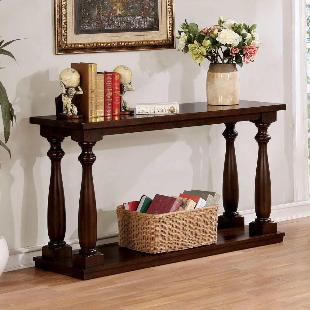 Furniture Of America Geln Rustic Solid Wood Open Shelf Sofa Table With Ahana Wooden Garden Benches (View 23 of 25)