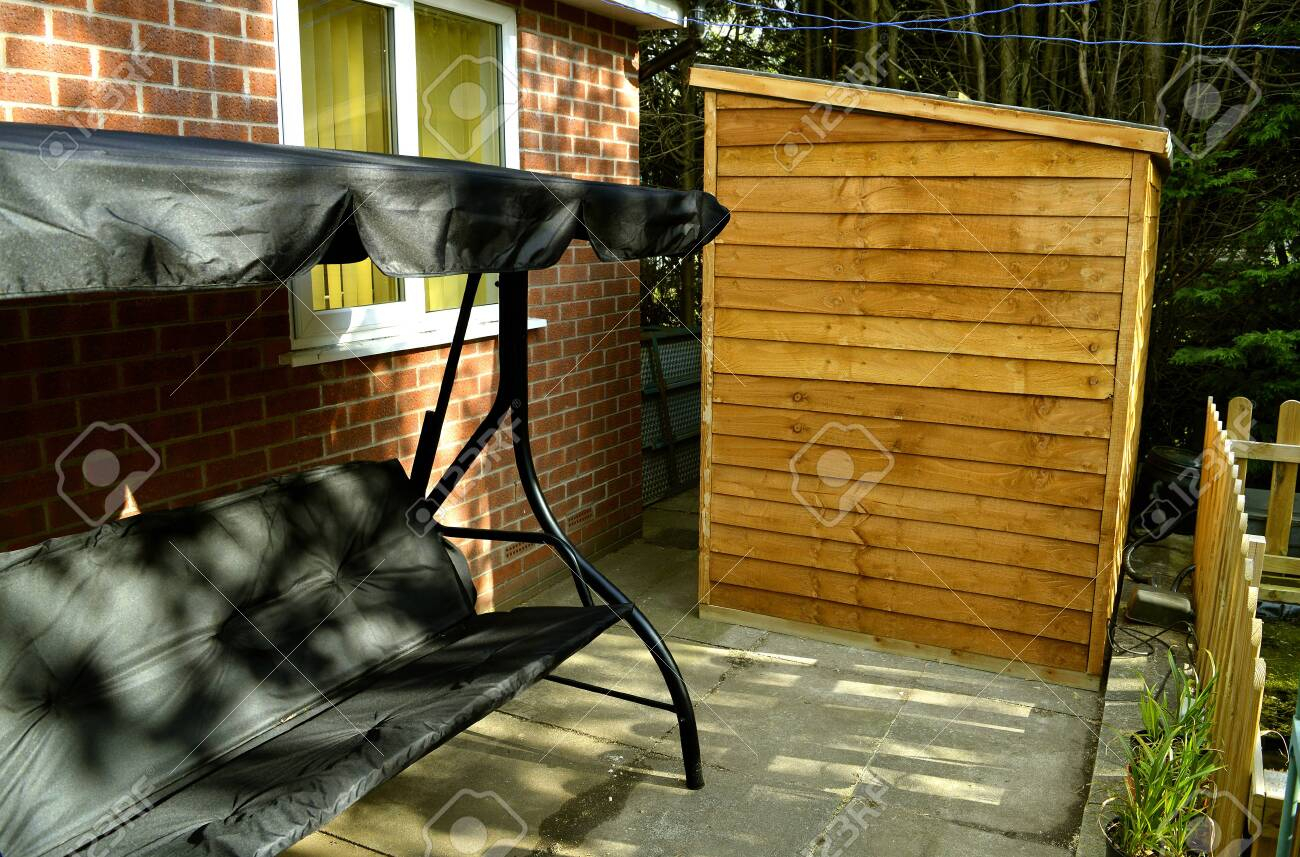 Garden Bench And Shed In A Back Garden In Manchester Within Manchester Wooden Garden Benches (View 17 of 25)