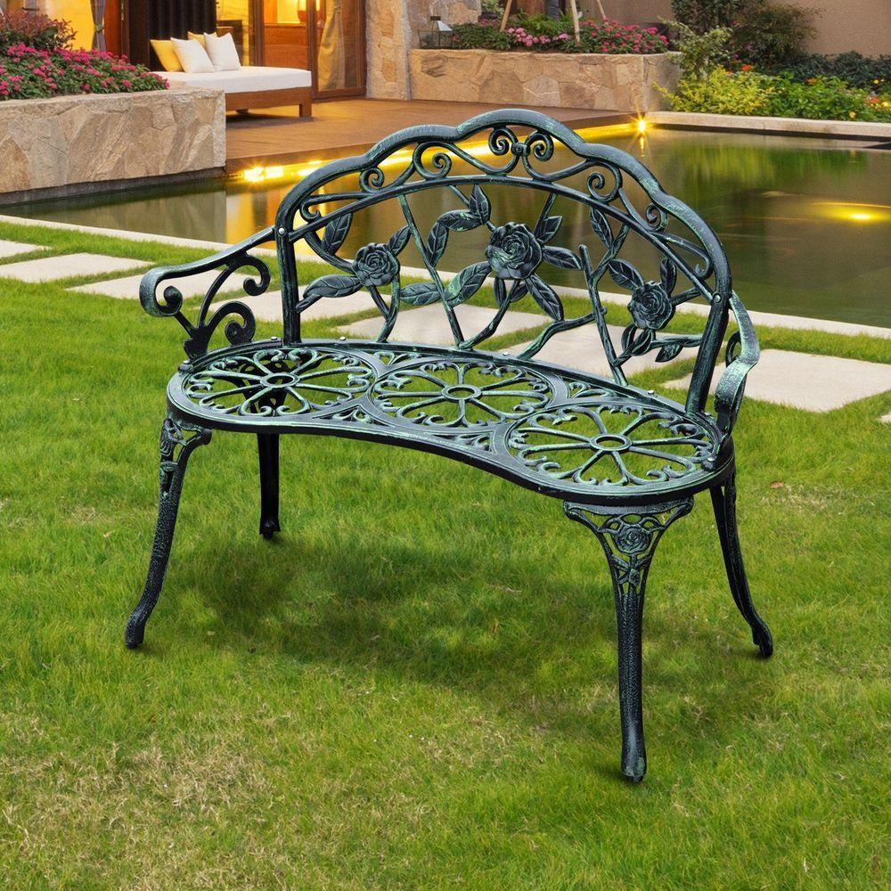 Garden Park Bench Cast Iron Antique Green Finish Outdoor Inside Montezuma Cast Aluminum Garden Benches (View 8 of 25)