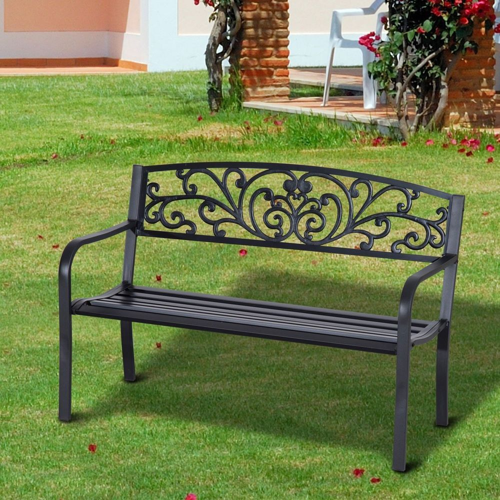 Garden Patio Bench 2 Seater Cast Iron Tubular Steel Black In Ismenia Checkered Outdoor Cast Aluminum Patio Garden Benches (View 22 of 25)