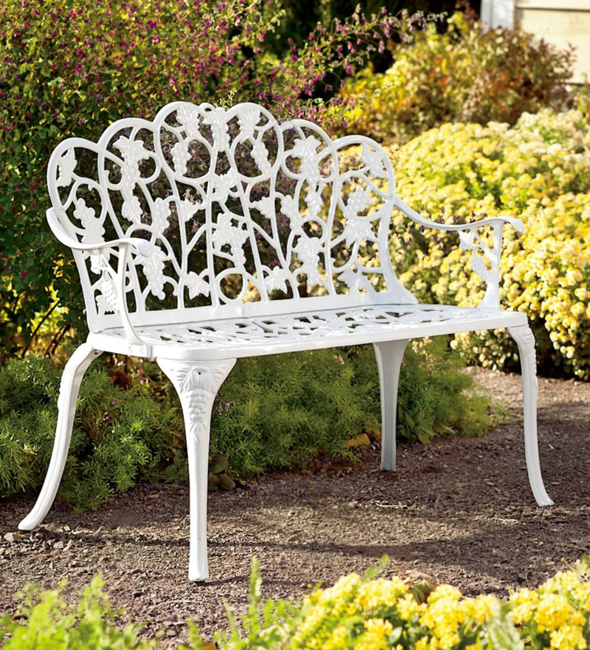 Grapevine Garden Bench In Powder Coated Aluminum For Tree Of Life Iron Garden Benches (View 19 of 25)