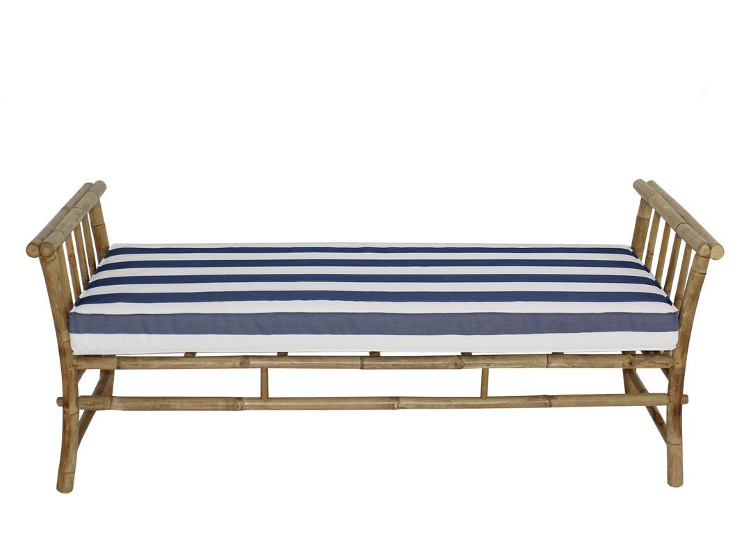 Grosvenor Bamboo Patio Daybed With Mattress & Reviews | Joss Inside Ishan Steel Park Benches (View 18 of 25)