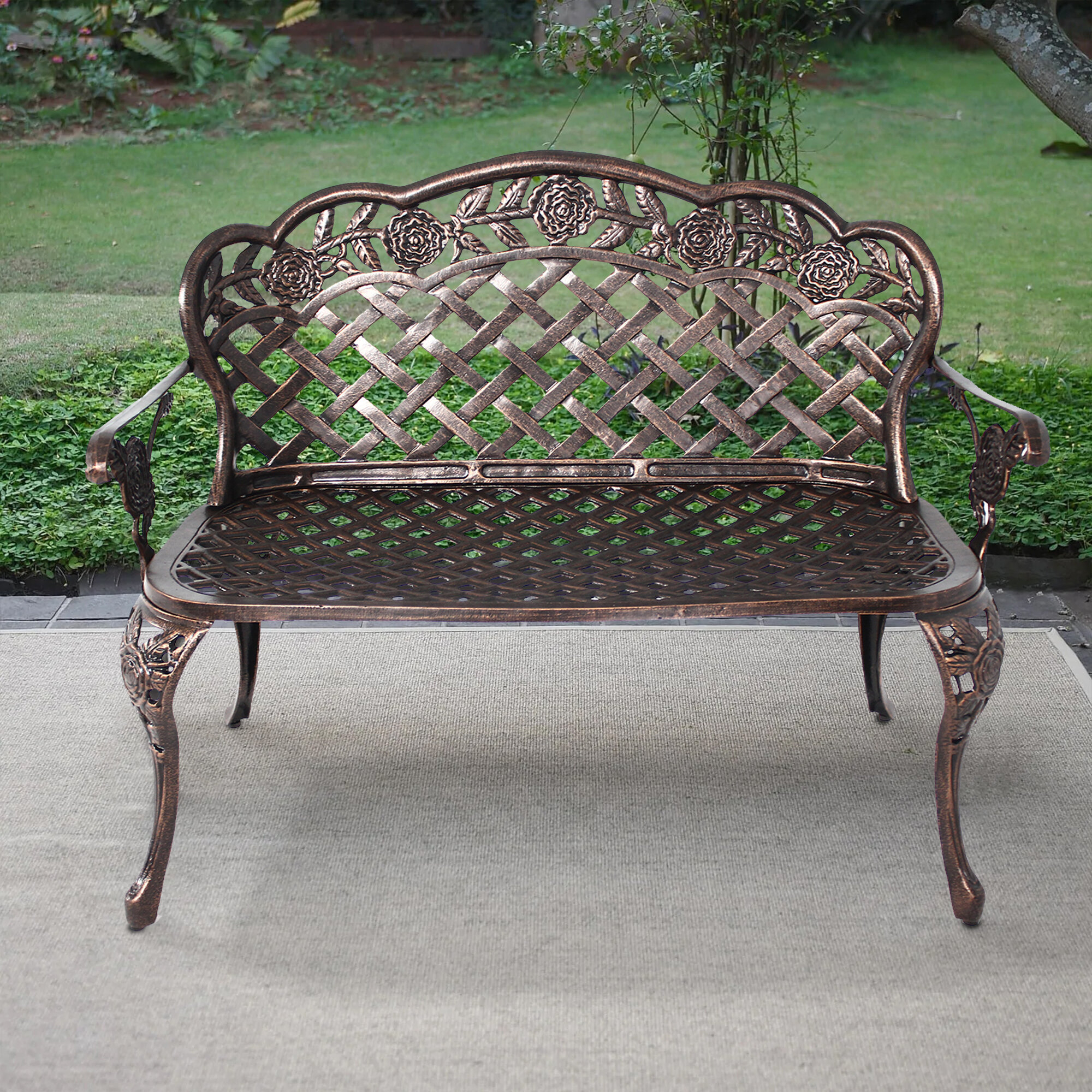 Hailey Cast Aluminum Garden Bench Within Ismenia Checkered Outdoor Cast Aluminum Patio Garden Benches (View 3 of 25)