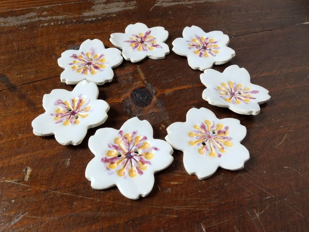 Hand Made 7 Sakura Buttons White Pink Cherry Blossoms Regarding Williar Cherry Blossom Ceramic Garden Stools (View 23 of 25)