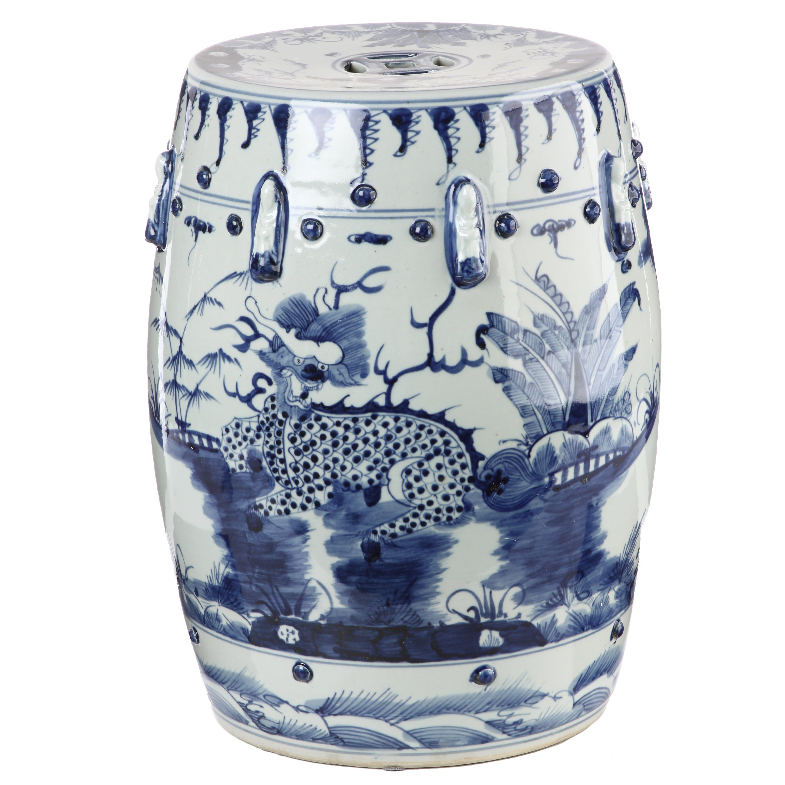 Handmade Blue And White Kylin Chinese Porcelain Garden Stool (China) Regarding Dragon Garden Stools (View 11 of 26)