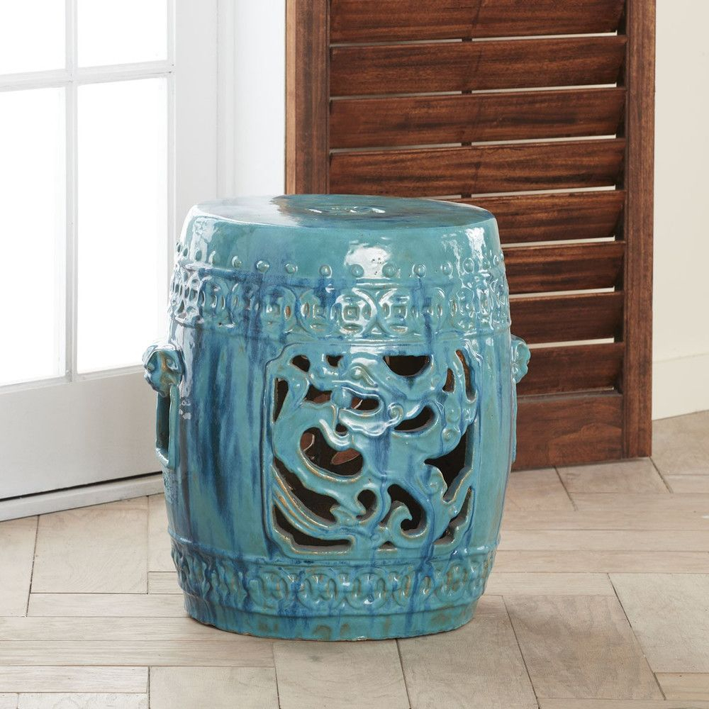 Hao Turquoise Stool | Turquoise Living Room Decor, Garden Pertaining To Murphy Ceramic Garden Stools (View 10 of 25)