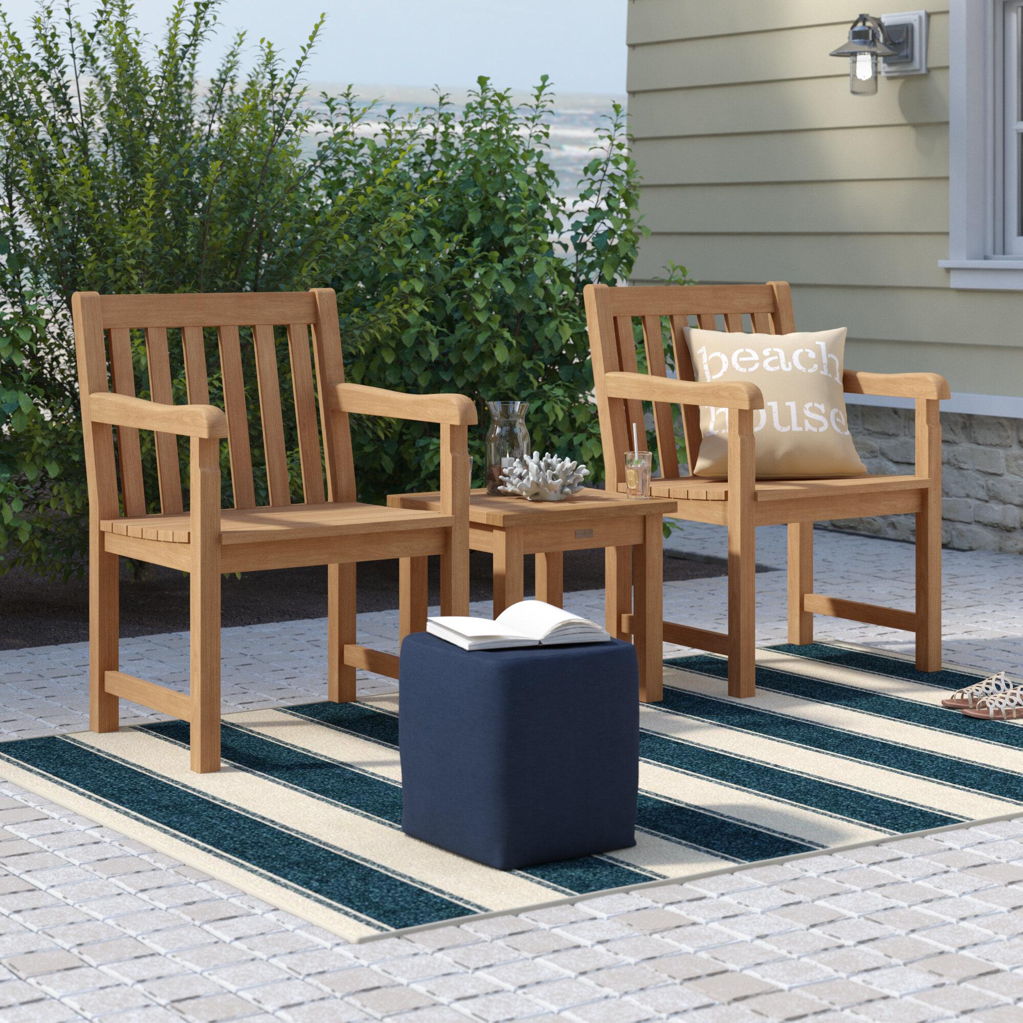 Harpersfield 3 Piece Conversation Set Throughout Harpersfield Wooden Garden Benches (View 21 of 25)