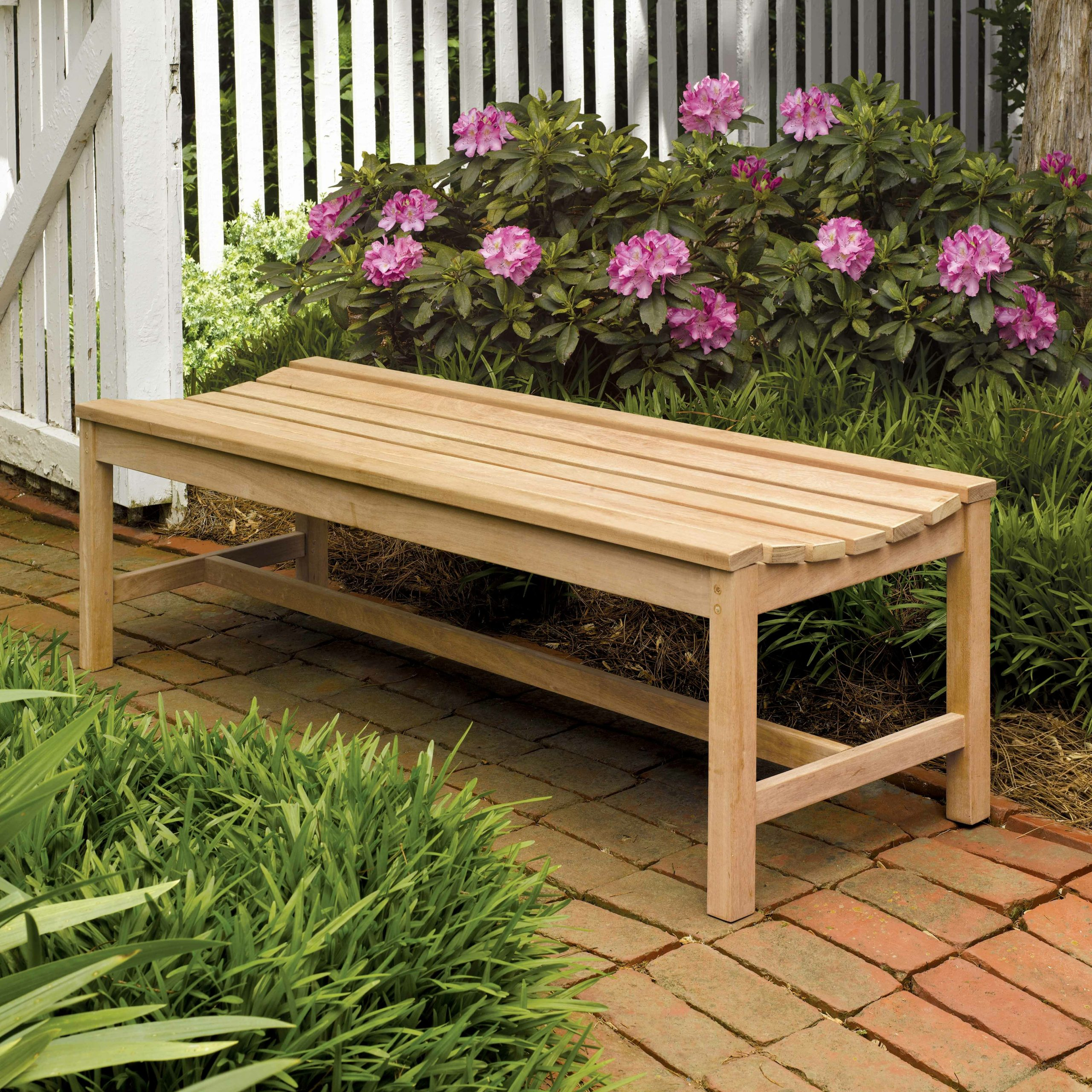 Harpersfield Backless Picnic Bench In Harpersfield Wooden Garden Benches (View 2 of 25)
