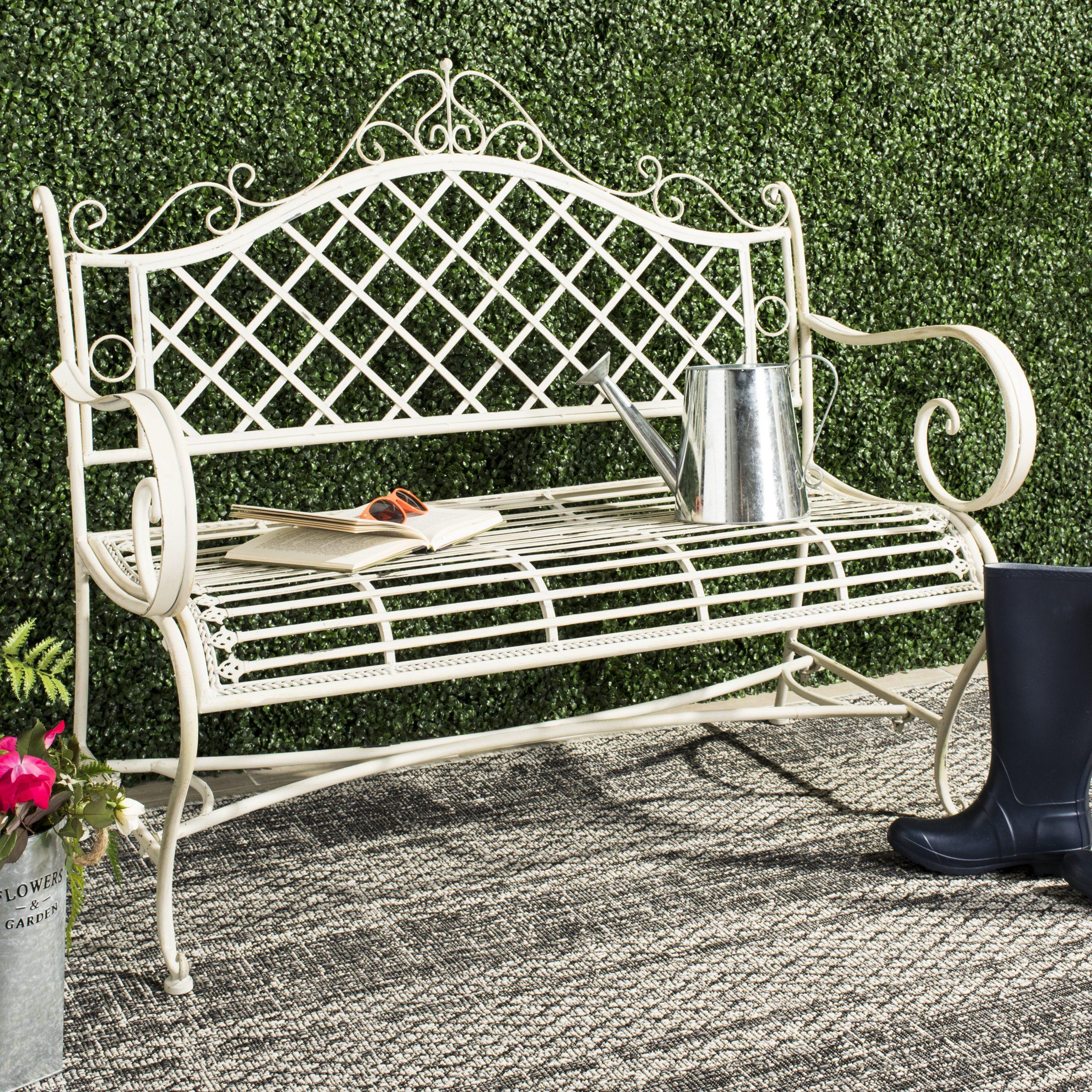 Hornellsville Wrought Iron Garden Bench Intended For Madeline Vintage Bird Cast Iron Garden Benches (View 12 of 25)
