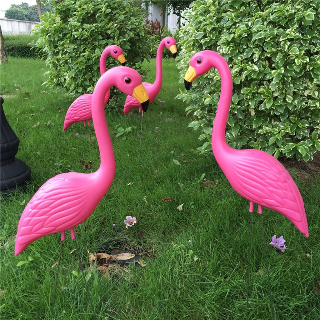 Hot Promo #B7B4 – Pack Of 2 Plastic Pink Flamingo Figurines In Flamingo Metal Garden Benches (View 16 of 25)