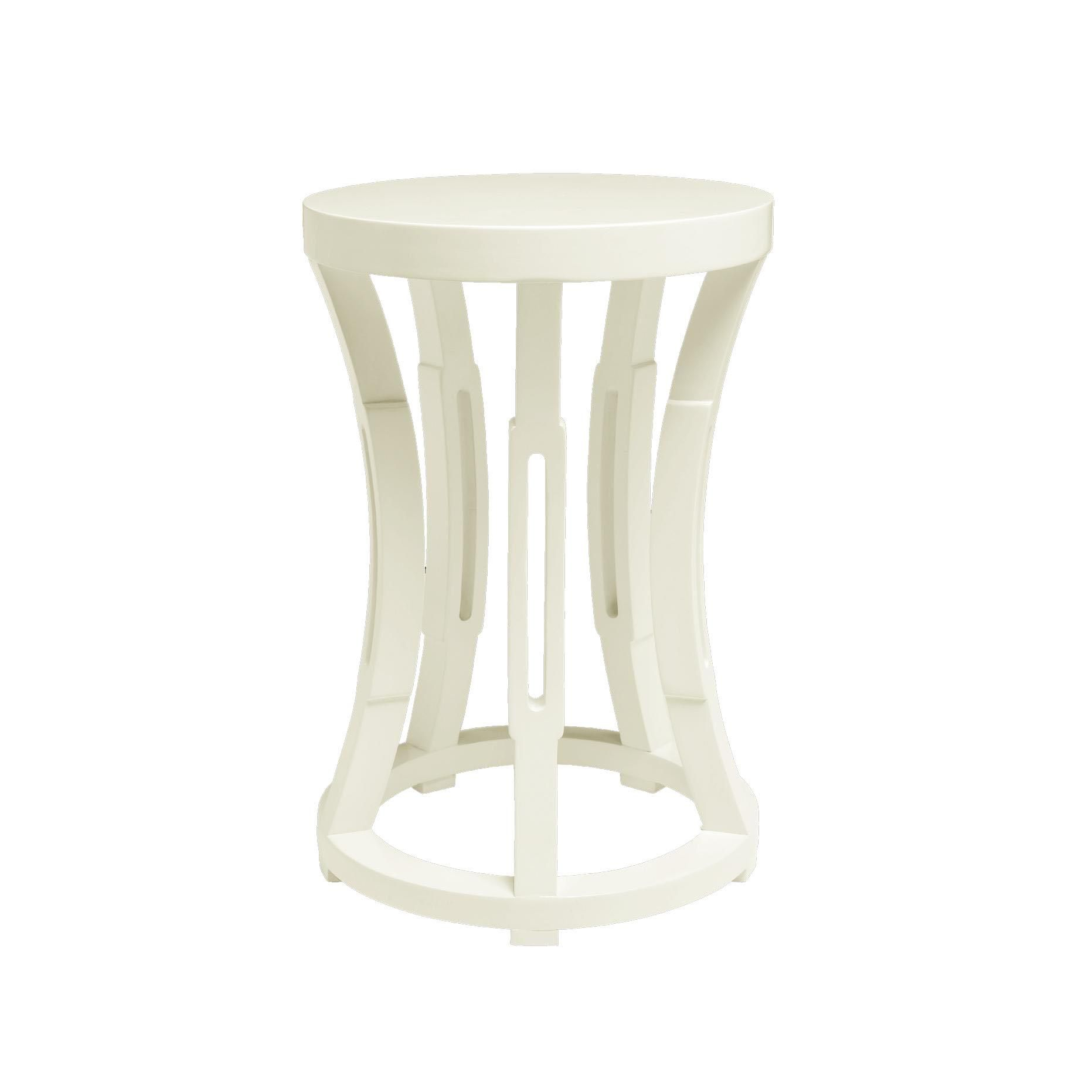 Hourglass Side Table In White | White Side Tables, Side In Svendsen Ceramic Garden Stools (View 18 of 25)