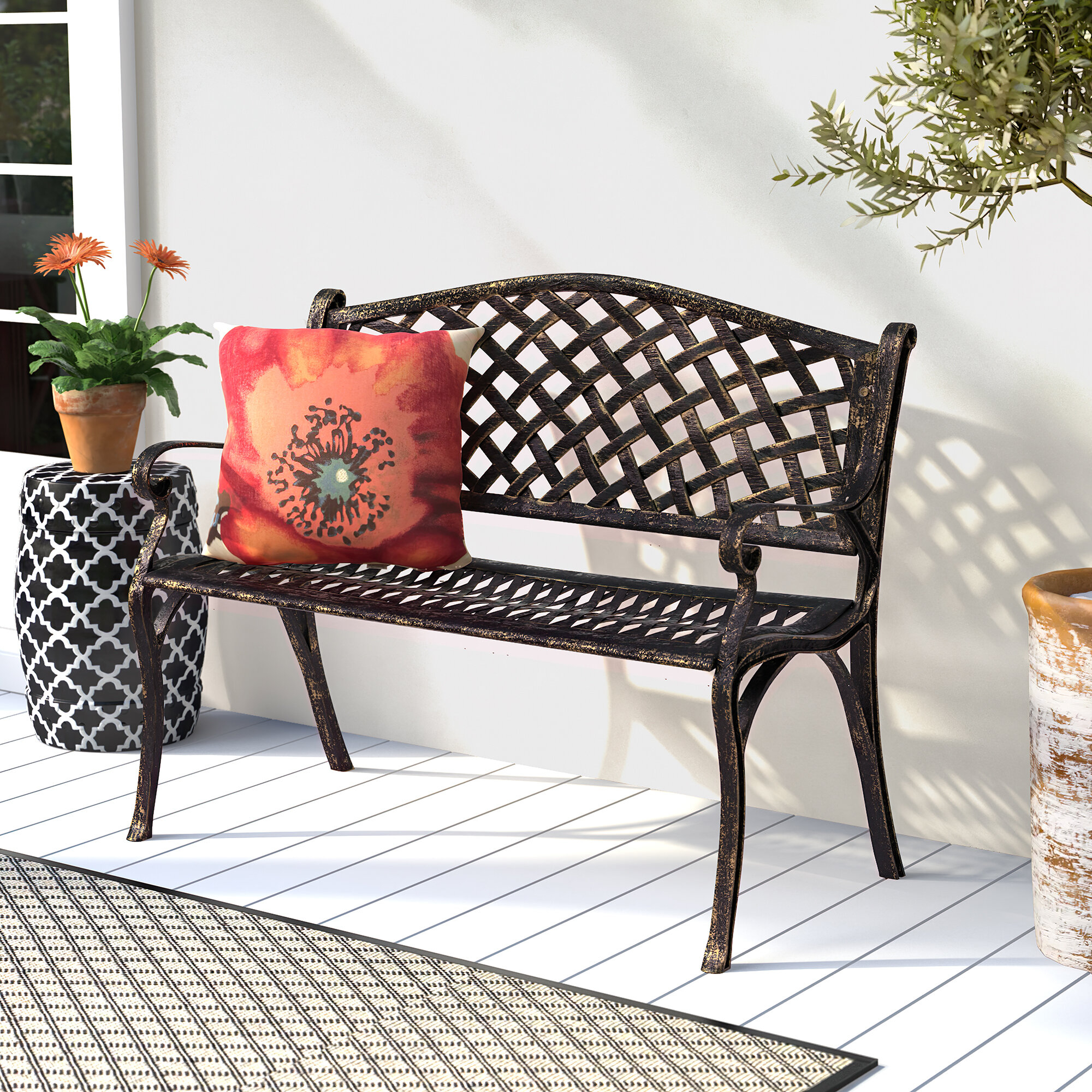 Huang Lattice Metal Garden Bench With Caryn Colored Butterflies Metal Garden Benches (View 10 of 25)