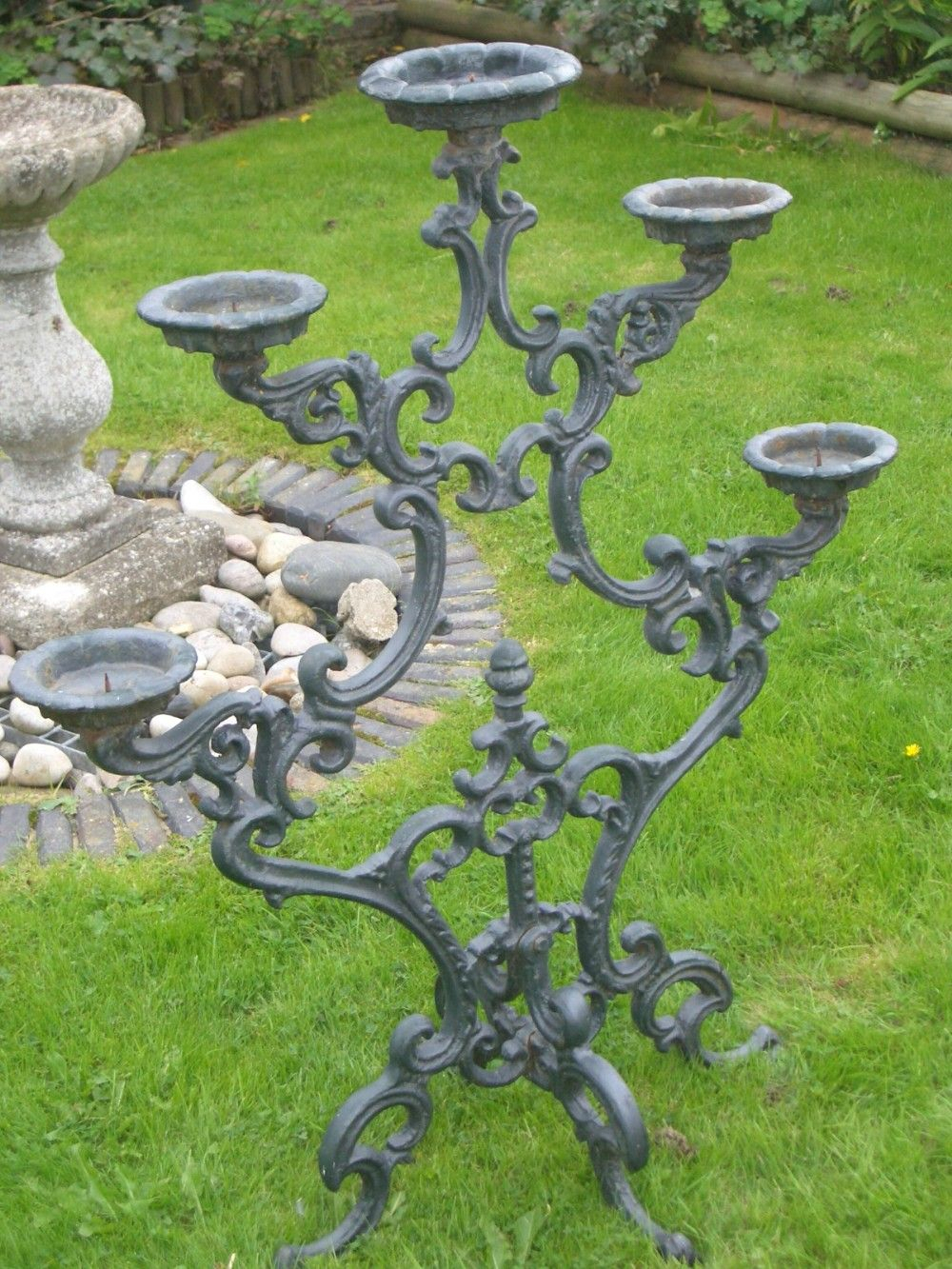 Huge Antique Five Branch Cast Iron Candelabra 1910 1920 For Madeline Vintage Bird Cast Iron Garden Benches (View 22 of 25)