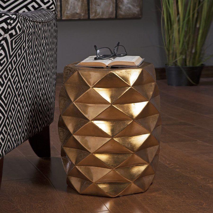 Imax Worldwide Ik Geometric 18 In Gold Ceramic Barrel Garden In Oakside Ceramic Garden Stools (View 17 of 25)