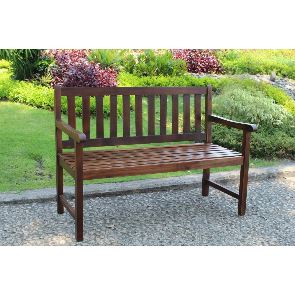 International Caravan Highland 4' Wood Patio Bench | Patio Inside Maliyah Wooden Garden Benches (View 8 of 25)