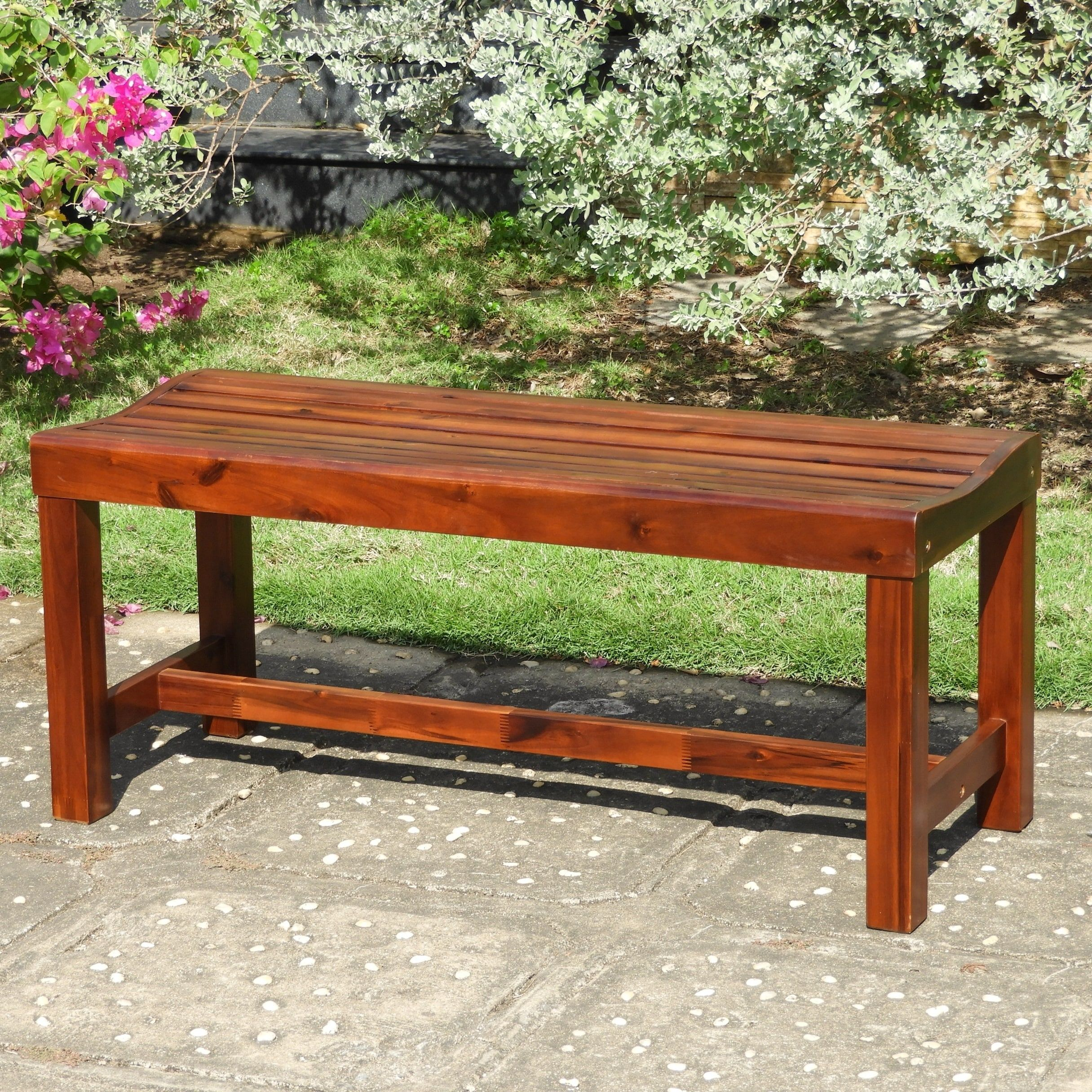 International Caravan Highland Acacia 55 Inch Backless Within Gabbert Wooden Garden Benches (View 12 of 25)