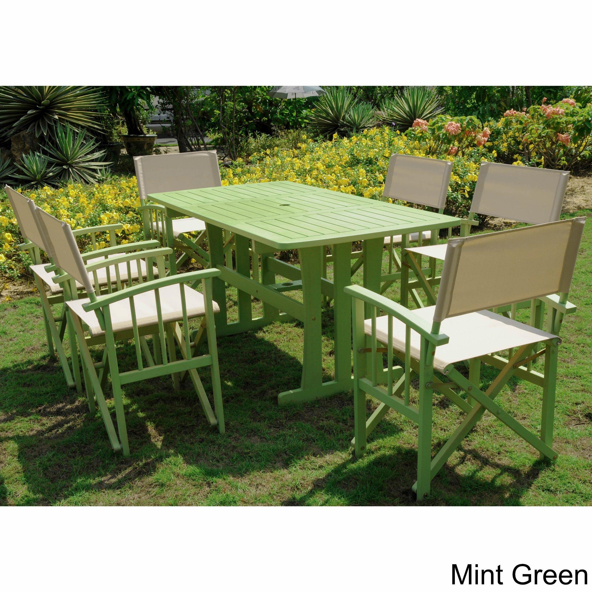 International Caravan Messina Acacia Hardwood Outdoor 7 Piece Dining Set Regarding Messina Garden Stools Set (Set Of 2) (View 25 of 25)