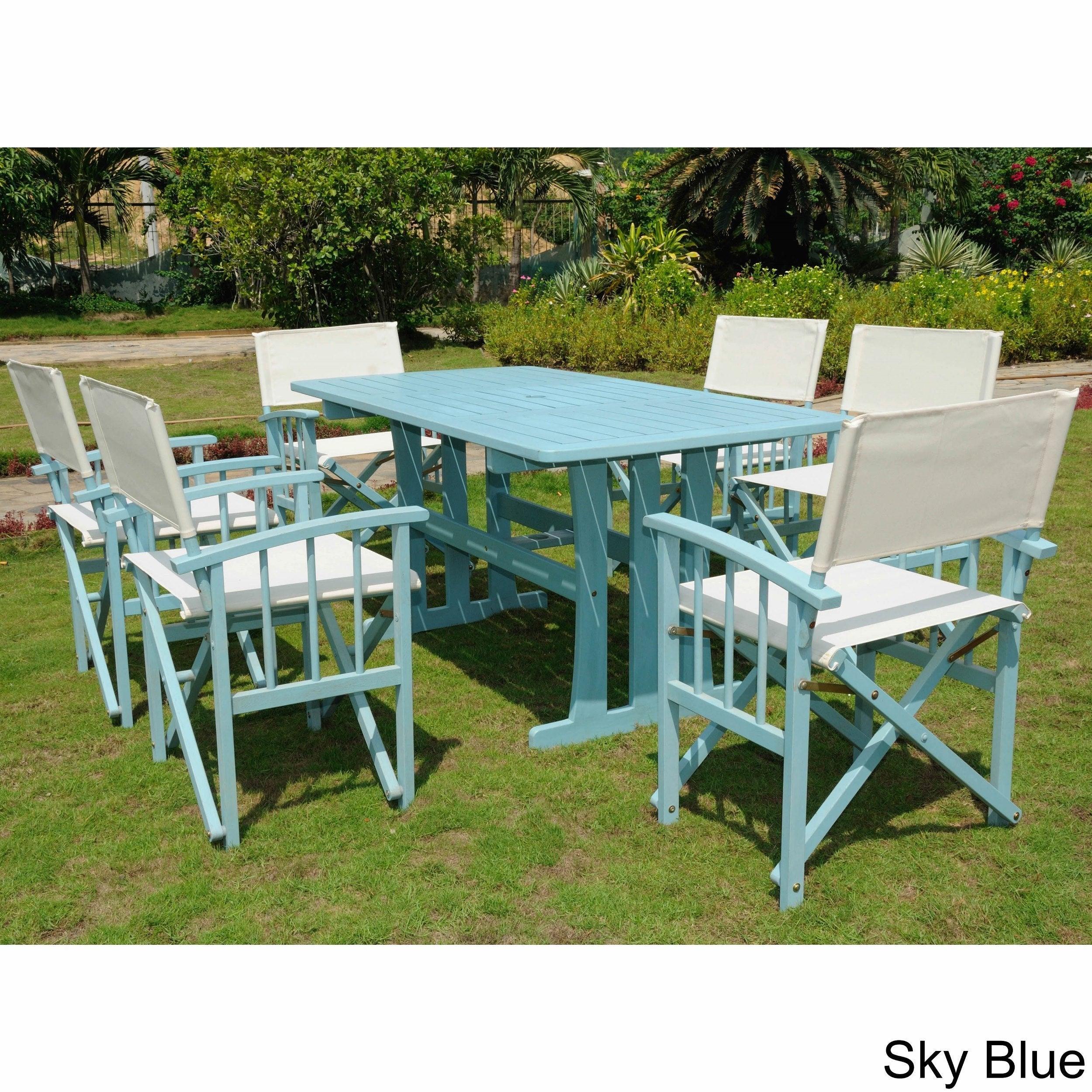 International Caravan Messina Acacia Hardwood Outdoor 7 Piece Dining Set With Messina Garden Stools Set (Set Of 2) (View 2 of 25)