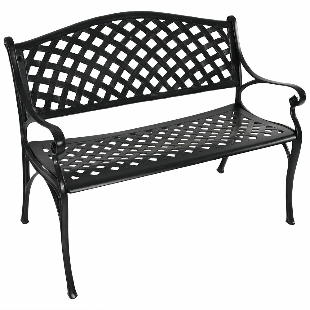 Ismenia With Regard To Ismenia Checkered Outdoor Cast Aluminum Patio Garden Benches (View 13 of 25)