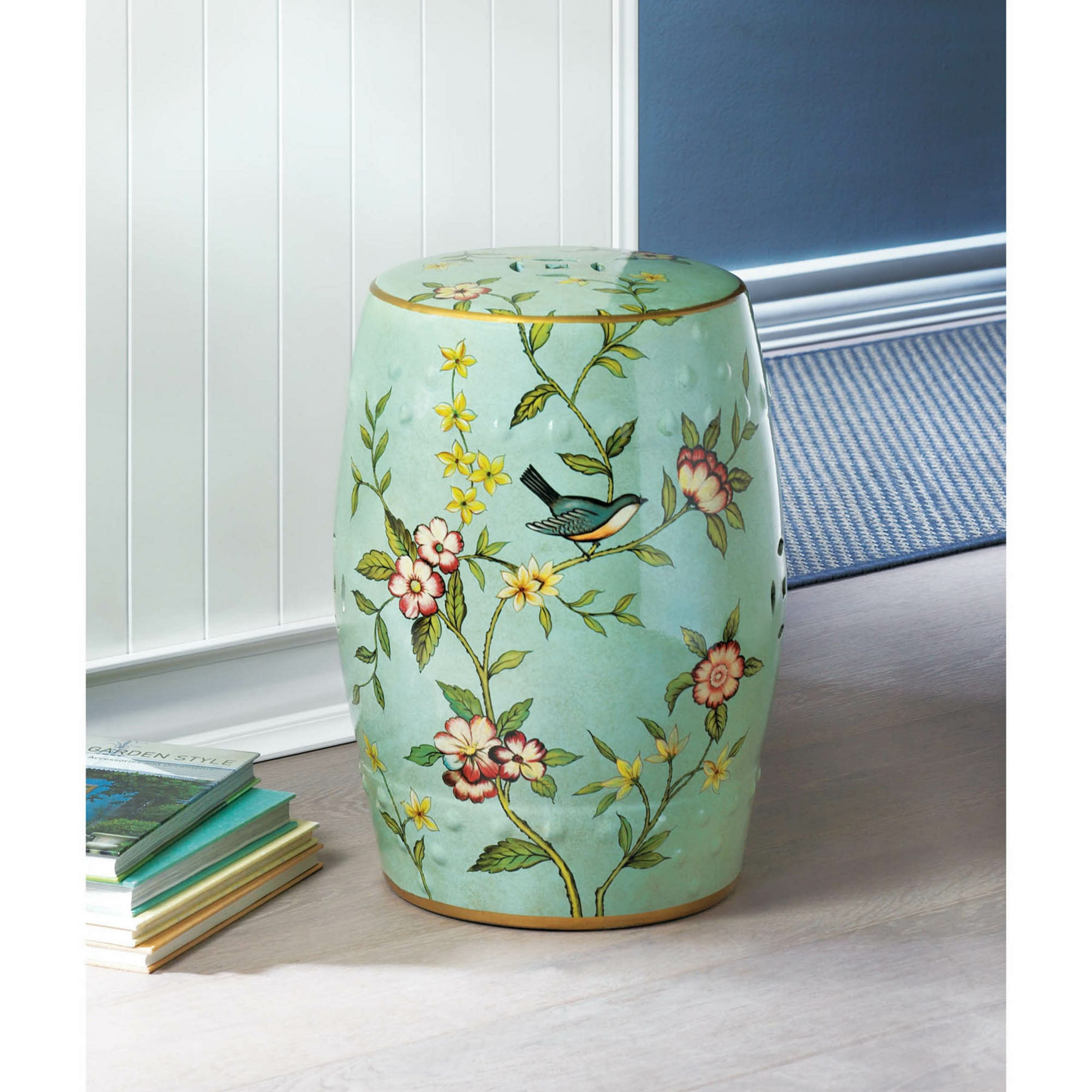 Janke Floral Garden Stool Intended For Wilde Poppies Ceramic Garden Stools (View 19 of 25)