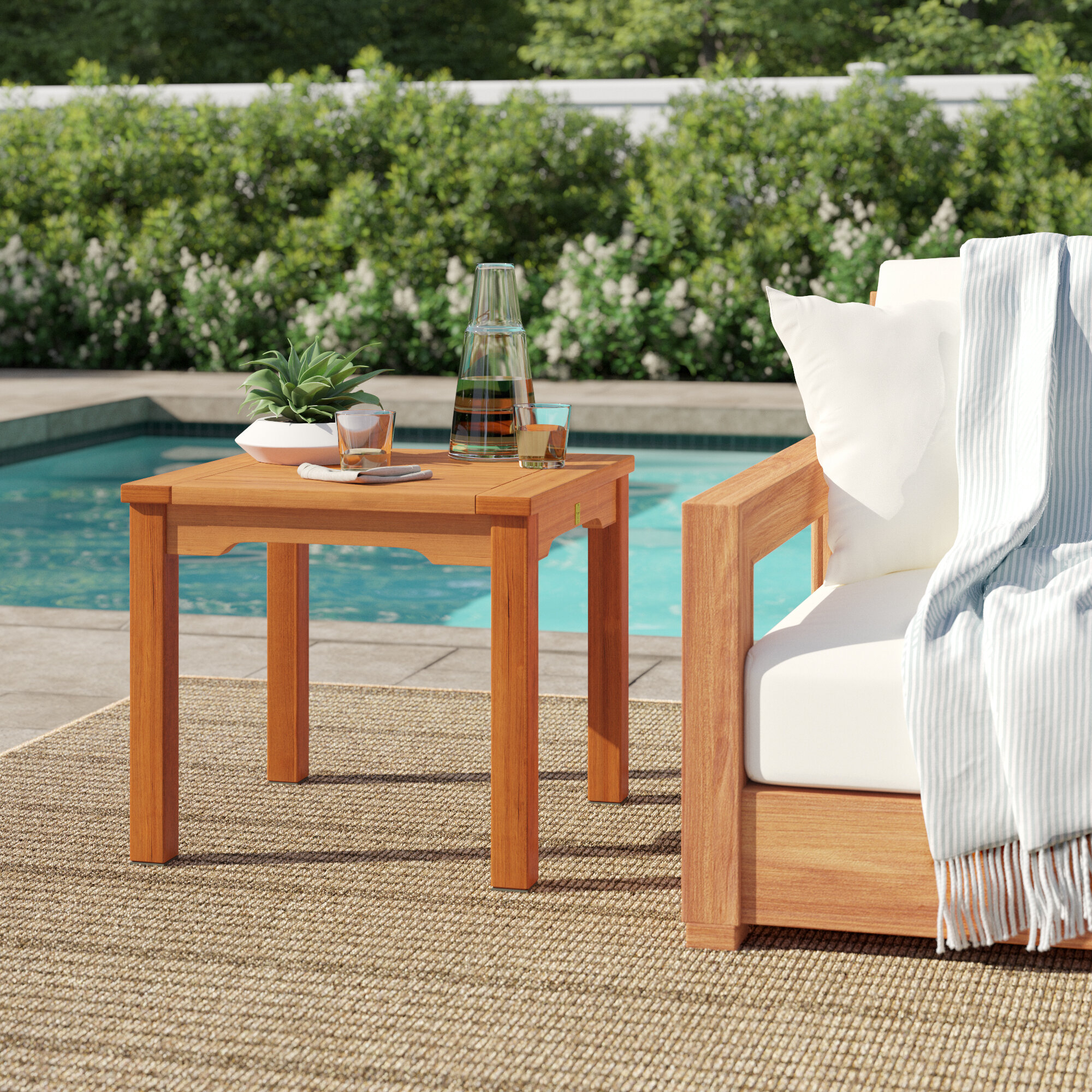 Jeff Solid Wood Side Table Within Harpersfield Wooden Garden Benches (View 16 of 25)