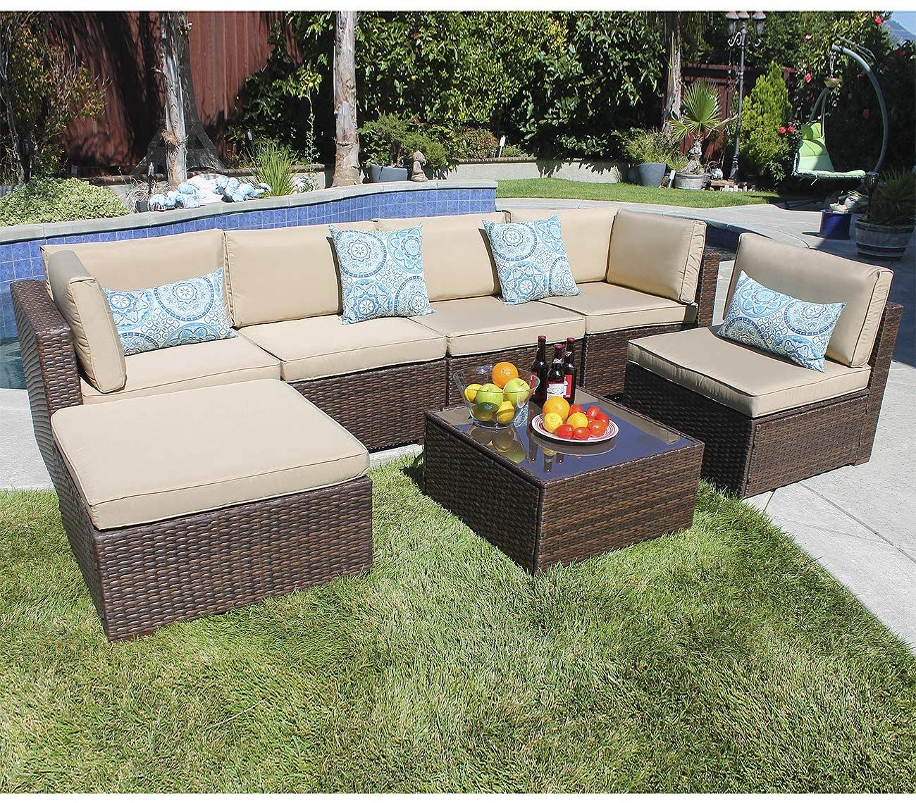 Joivi 7 Piece Patio Furniture Set, Outdoor Furniture Set, Pe Within Irwin Blossom Garden Stools (View 22 of 25)