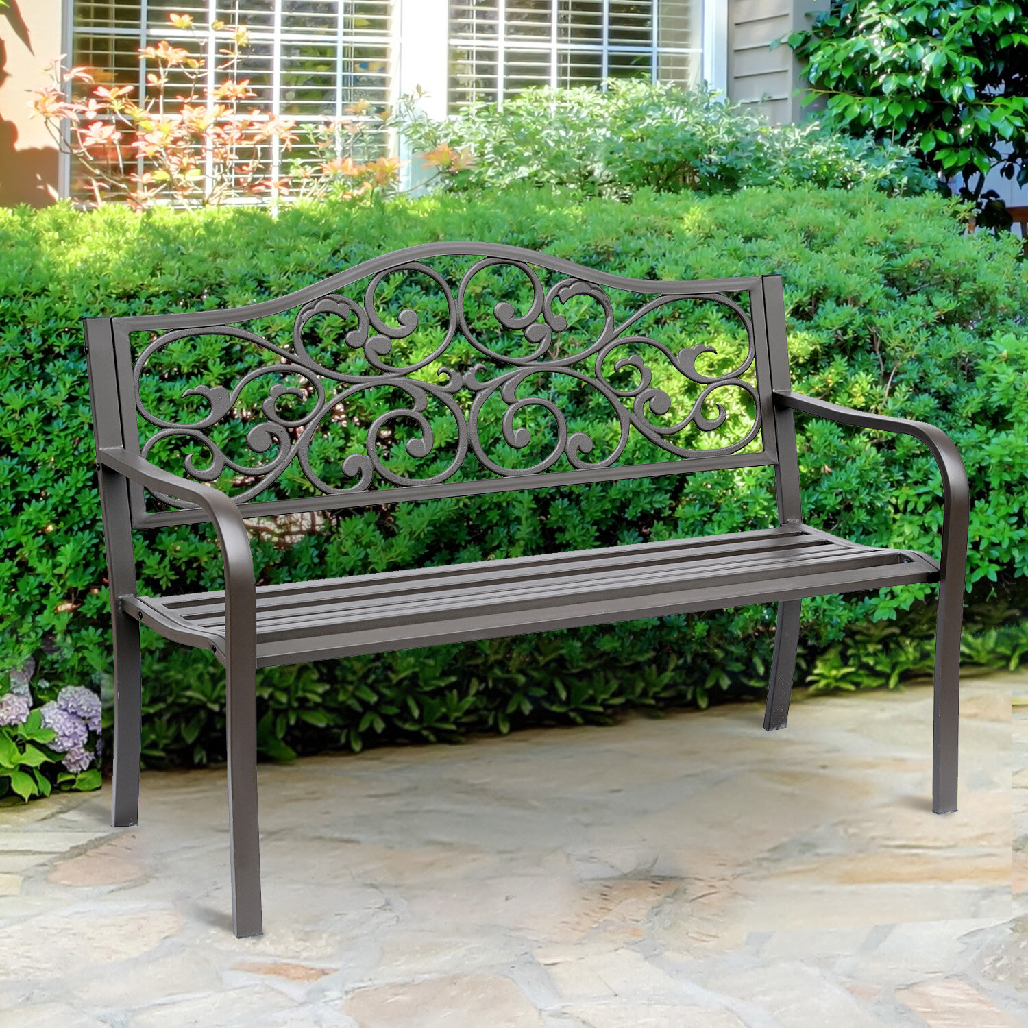 Kane Flower Pattern Cast Iron Garden Bench Inside Alvah Slatted Cast Iron And Tubular Steel Garden Benches (View 7 of 25)