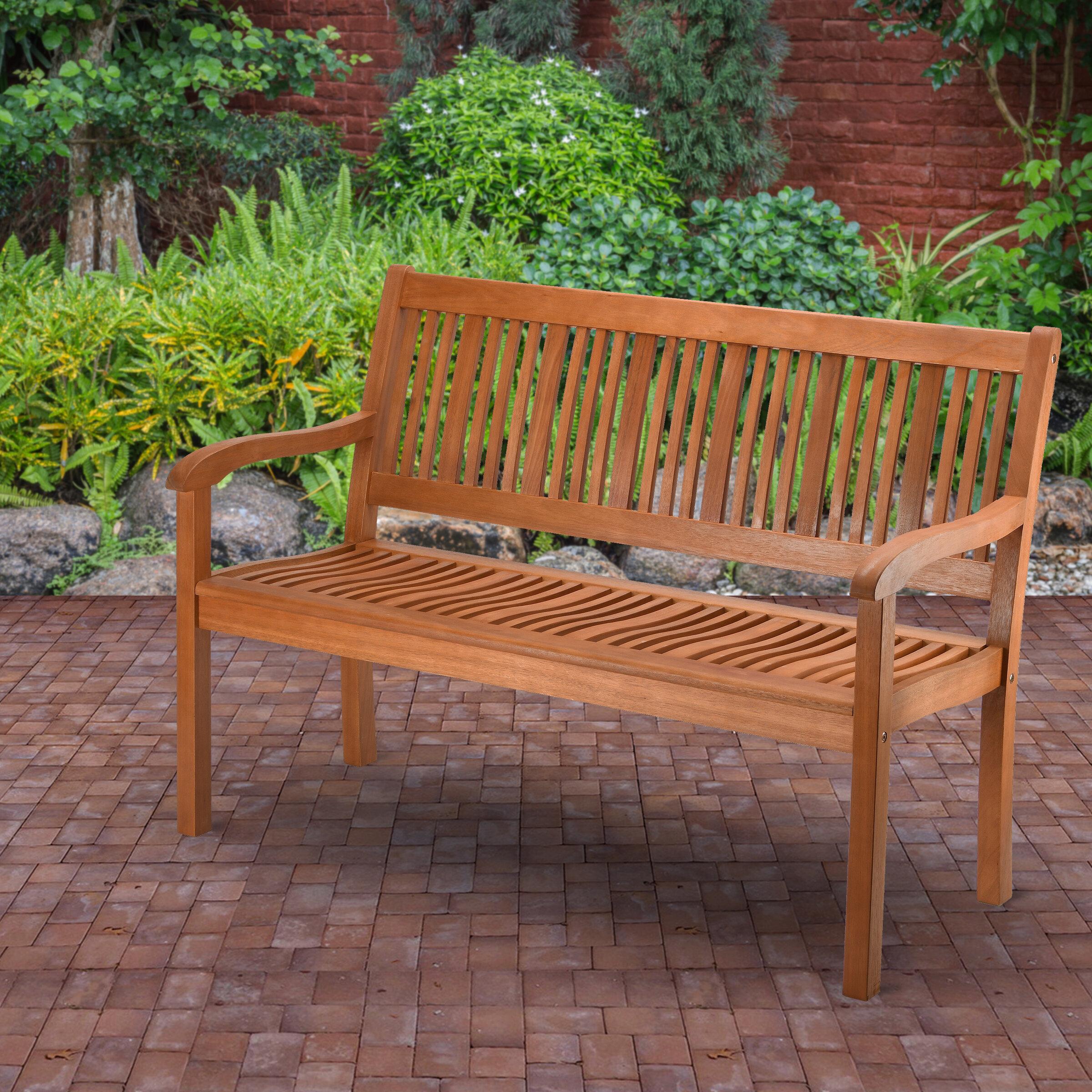 Konnor Wooden Garden Bench Regarding Elsner Acacia Garden Benches (View 18 of 25)