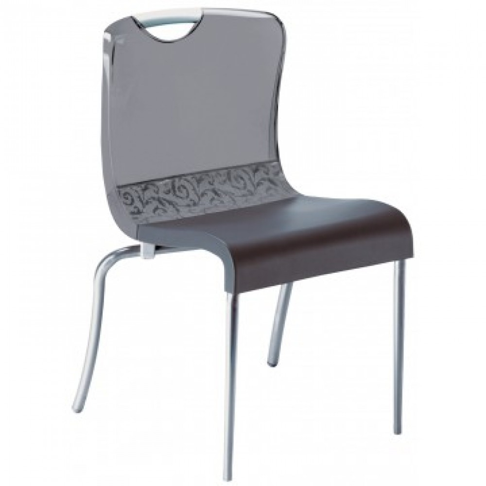 Krystal Stacking Chair Smoke – 12/Case In Krystal Ergonomic Metal Garden Benches (View 11 of 25)