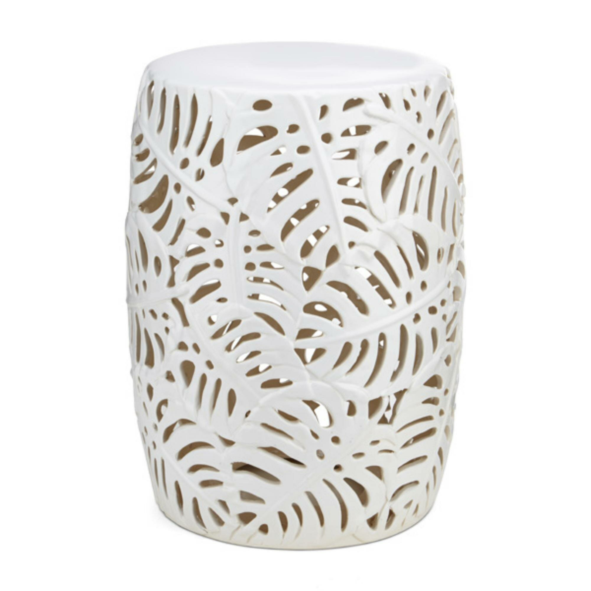 Lachlan Palm Leaf Cutwork Pattern Ceramic Garden Stool Within Svendsen Ceramic Garden Stools (View 7 of 25)