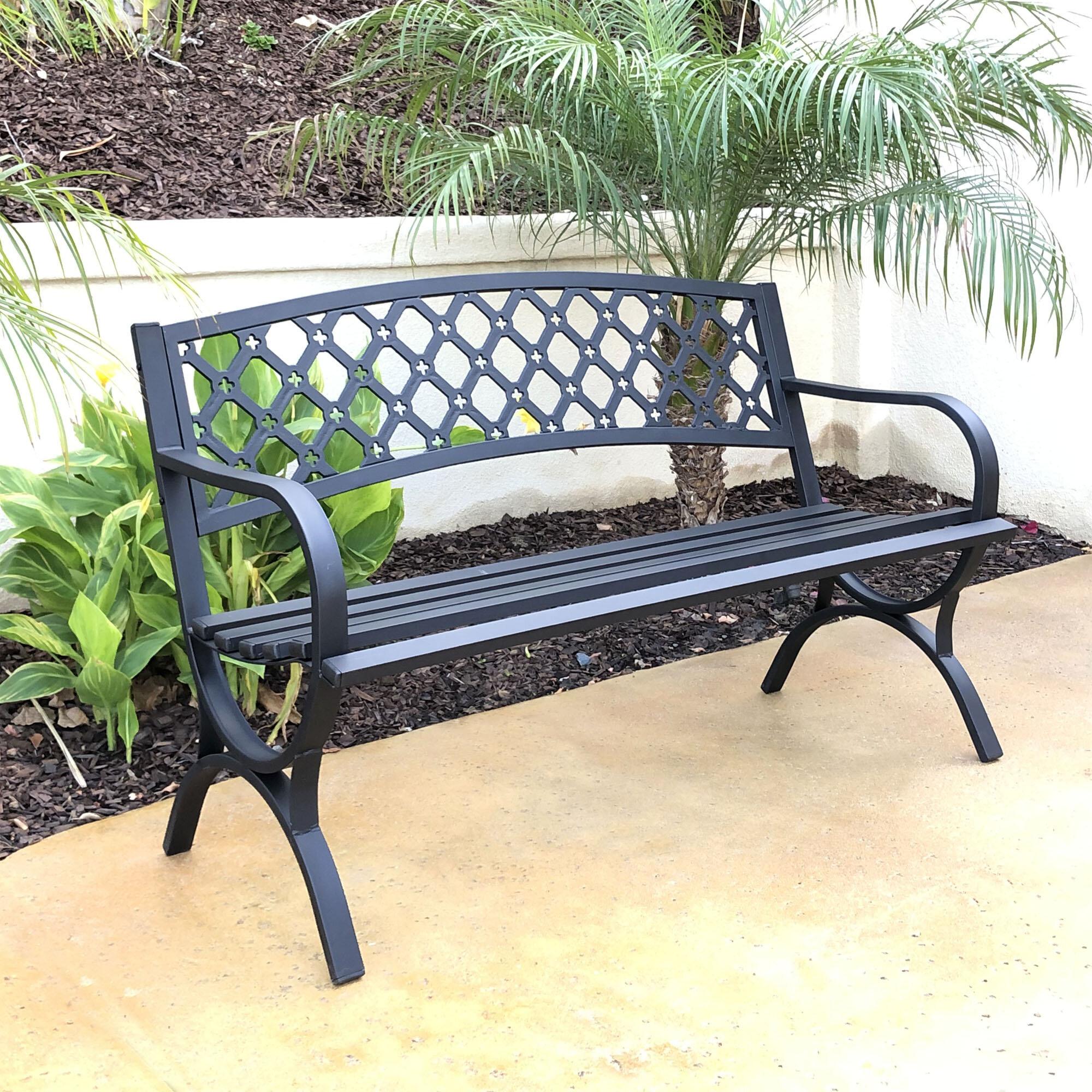 Lakeshore Metal Garden Bench In Zev Blue Fish Metal Garden Benches (View 1 of 25)