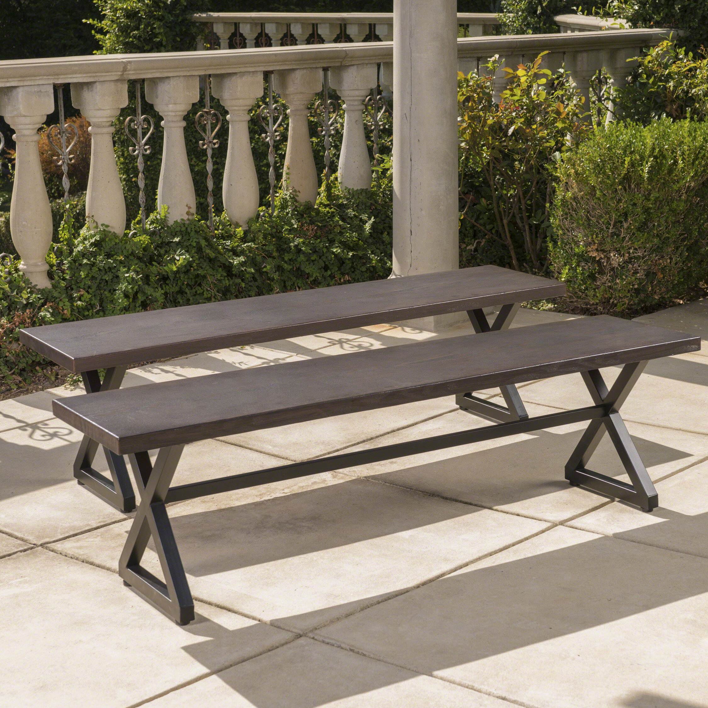 Lal Outdoor Aluminum Picnic Bench Intended For Guyapi Garden Benches (View 17 of 25)