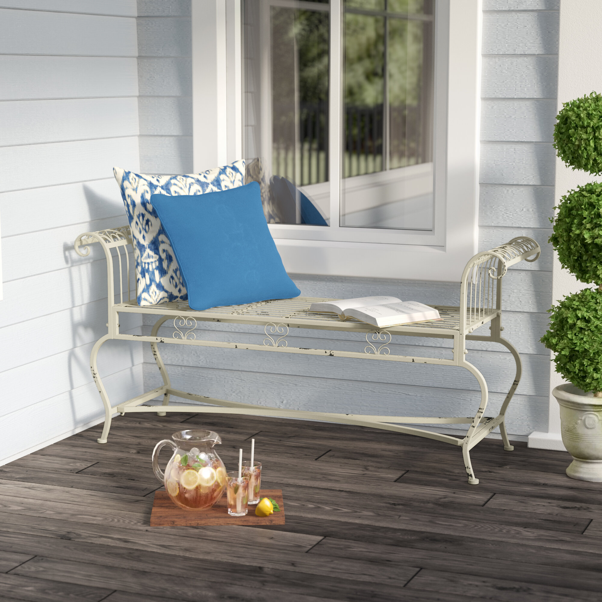 Lemire Iron Garden Bench With Zev Blue Fish Metal Garden Benches (View 6 of 25)
