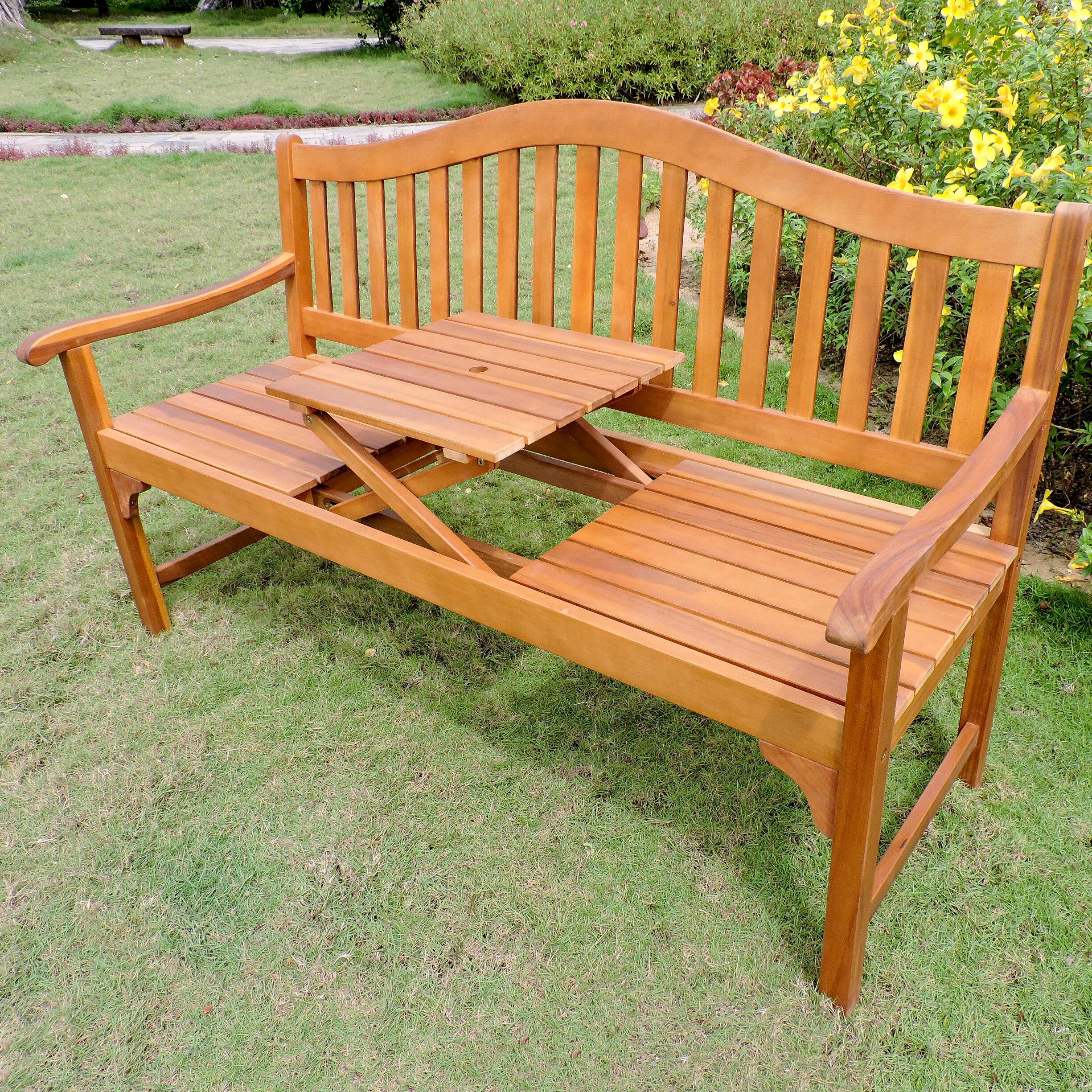 Leone Wooden Garden Bench In Maliyah Wooden Garden Benches (View 4 of 25)