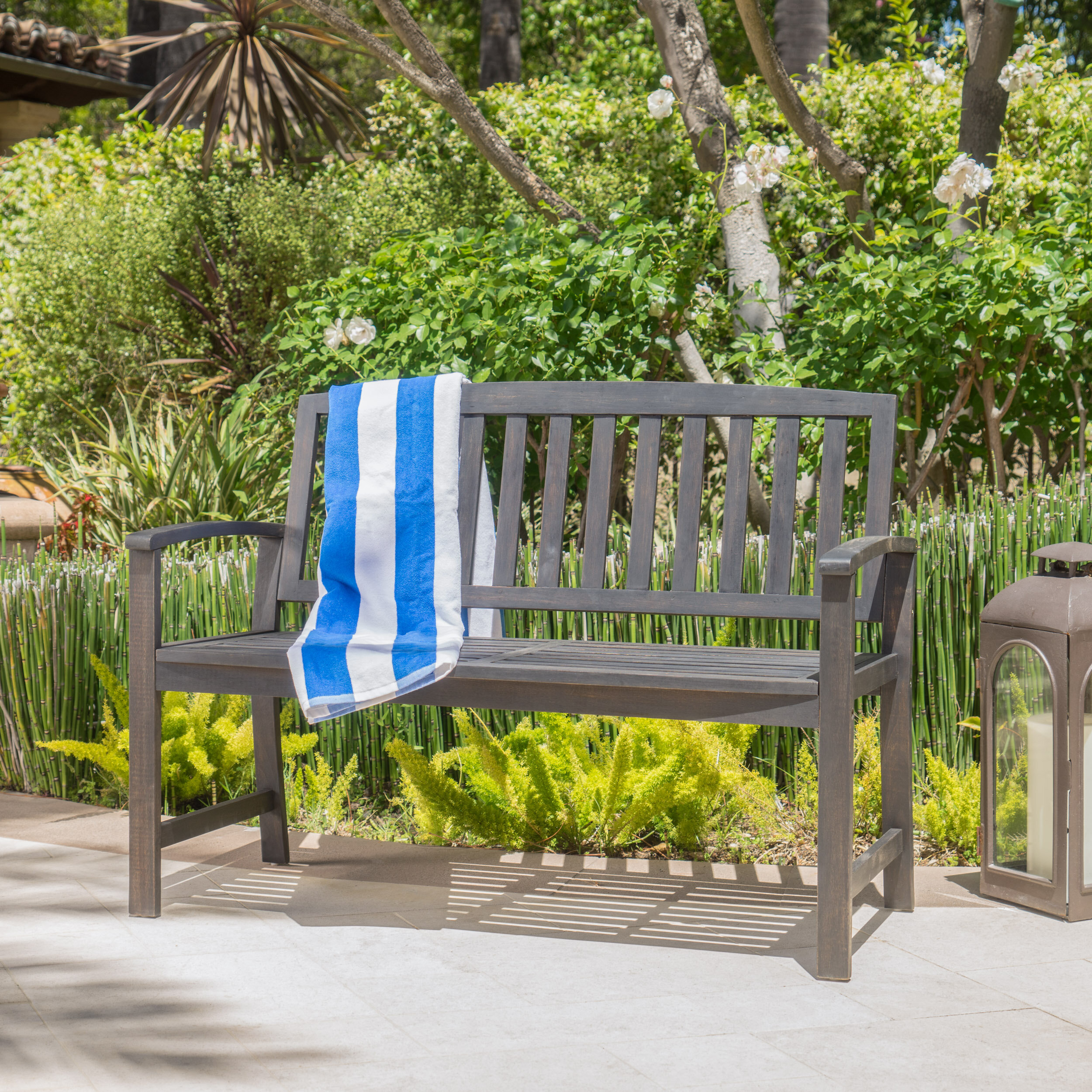 Leora Wooden Garden Bench For Alvah Slatted Cast Iron And Tubular Steel Garden Benches (View 13 of 25)