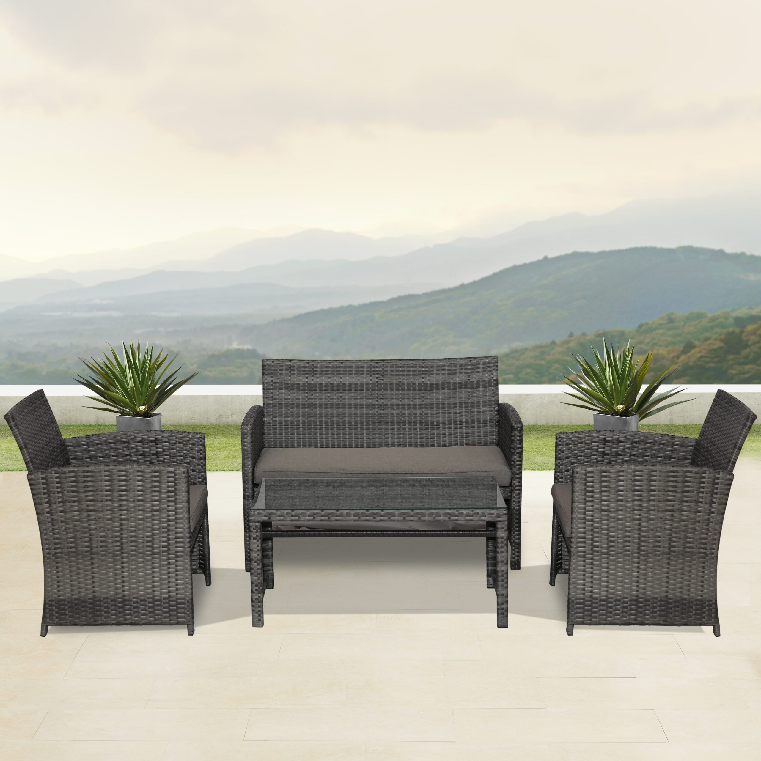 Lublin 4 Piece Rattan Sofa Seating Group With Cushions With Lublin Wicker Tete A Tete Benches (View 16 of 25)