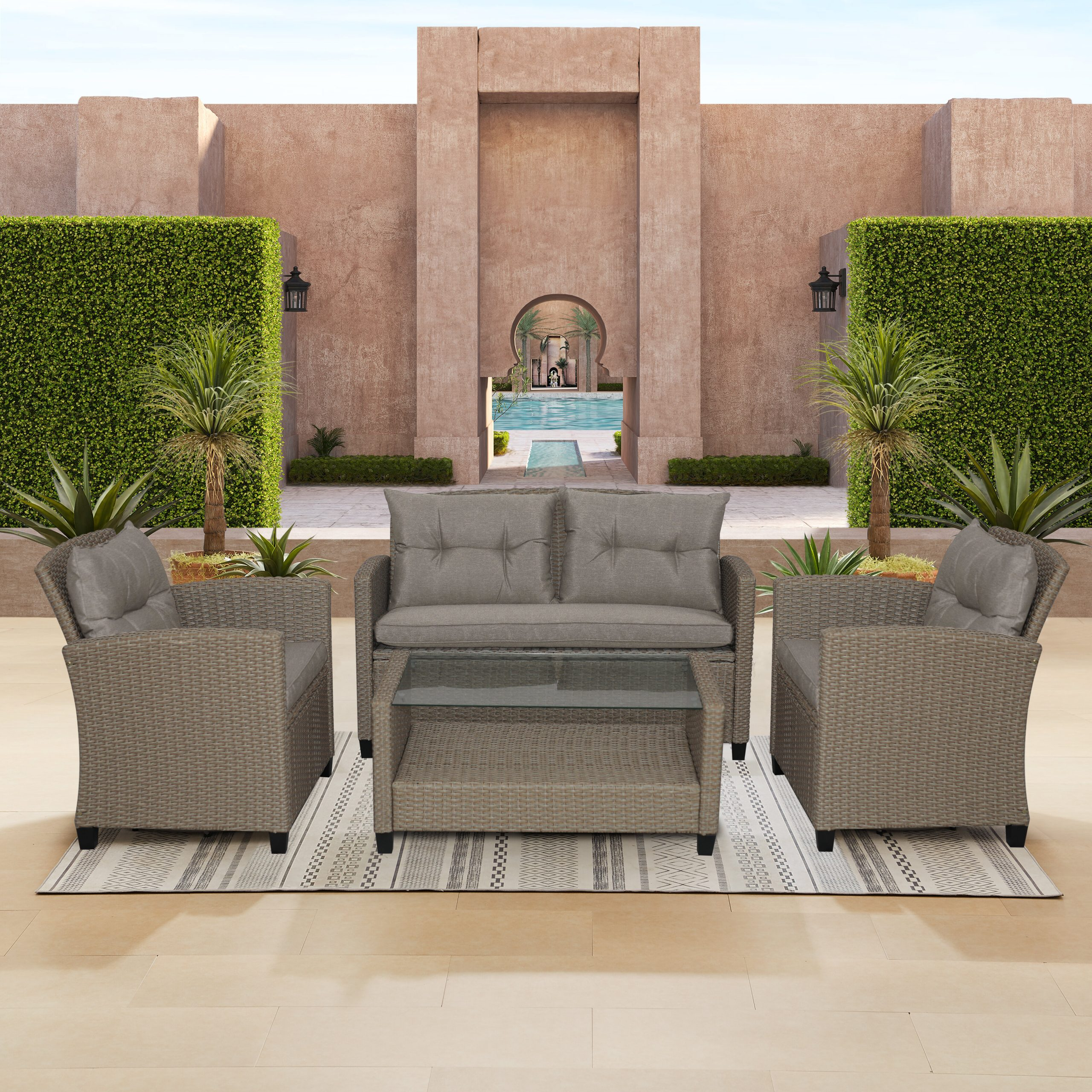 Lublin 4 Piece Rattan Sofa Seating Group With Cushions With Lublin Wicker Tete A Tete Benches (View 11 of 25)
