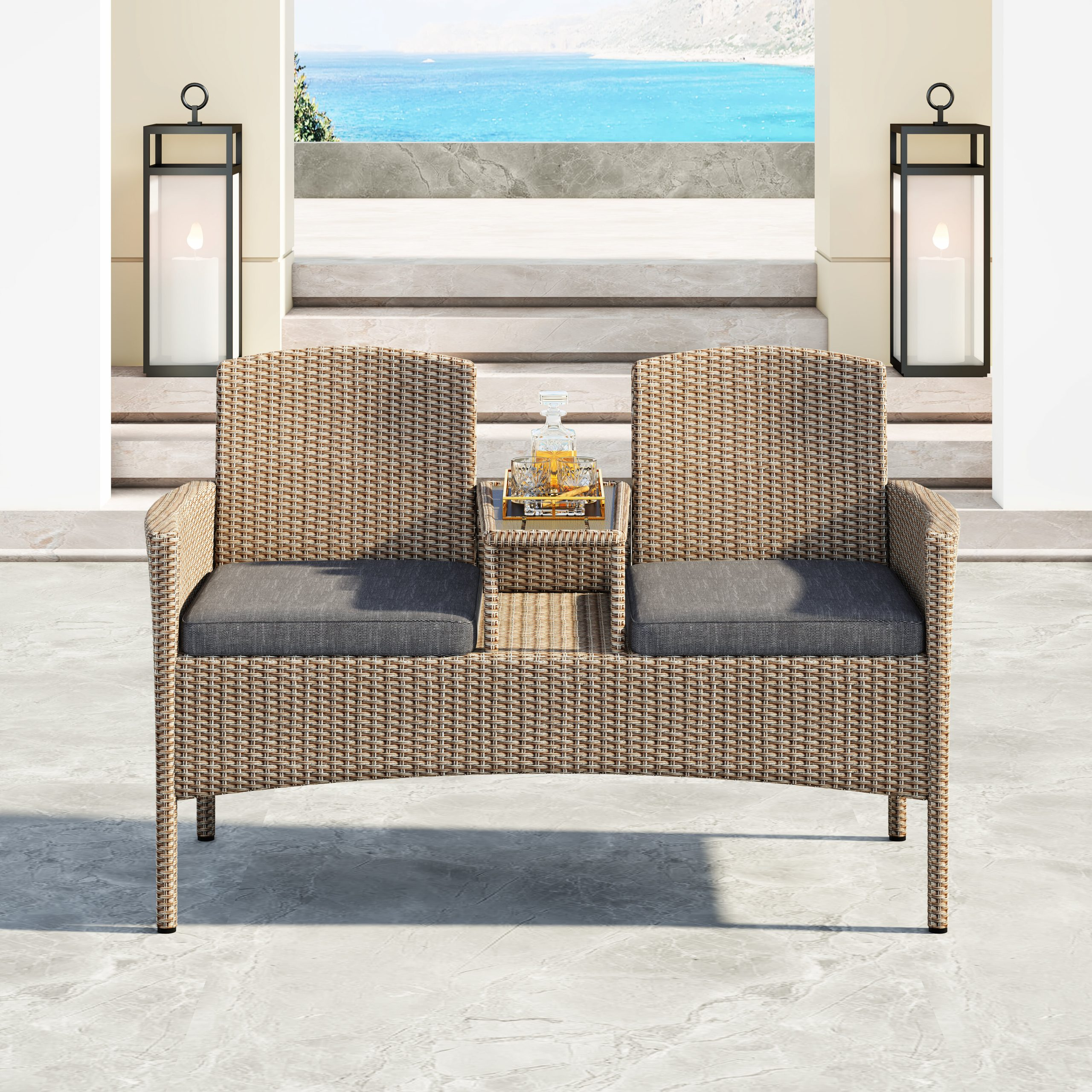 Featured Image of Lublin Wicker Tete A Tete Benches