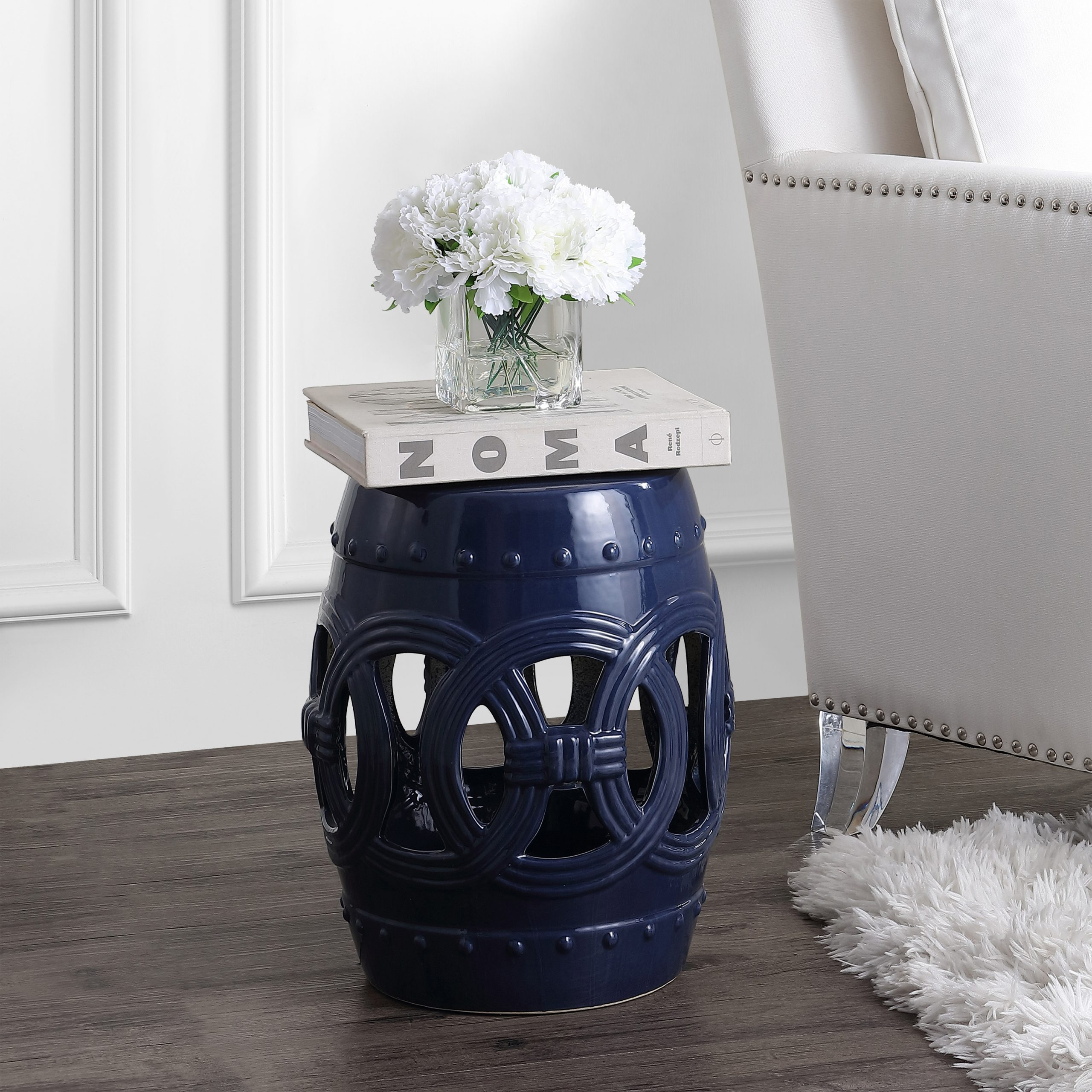 "Lucky Coins 16"" Chinese Ceramic Drum Garden Stool, Navy With Regard To Canarsie Ceramic Garden Stools (View 23 of 25)"