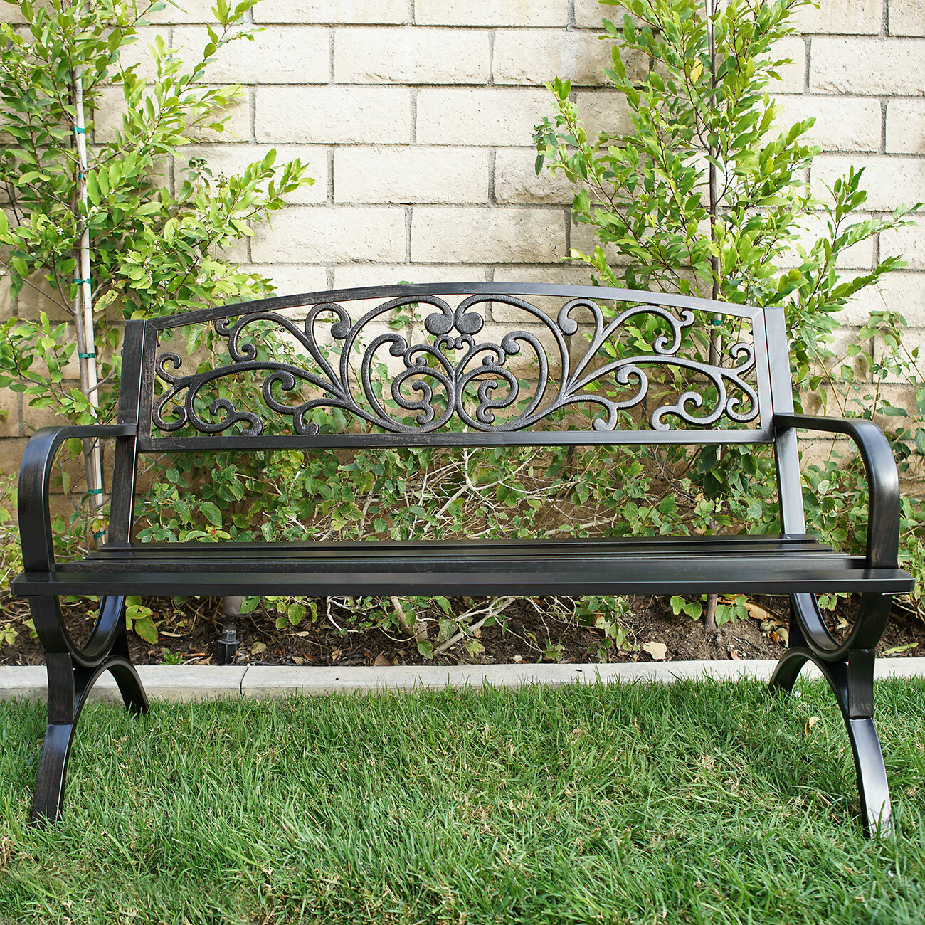 Lundberg Metal Garden Bench Intended For Alvah Slatted Cast Iron And Tubular Steel Garden Benches (View 24 of 25)
