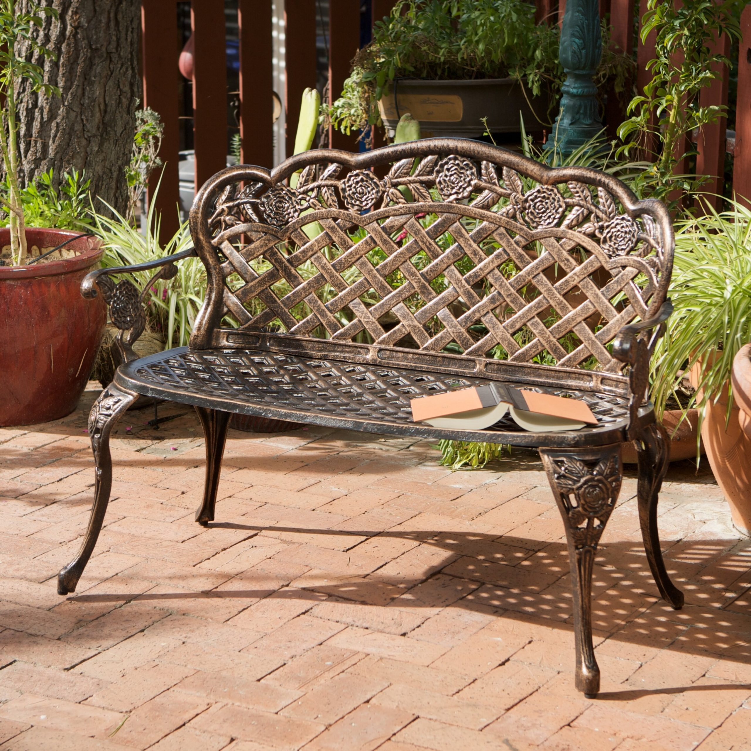 Madama Copper Garden Bench In Ismenia Checkered Outdoor Cast Aluminum Patio Garden Benches (View 7 of 25)