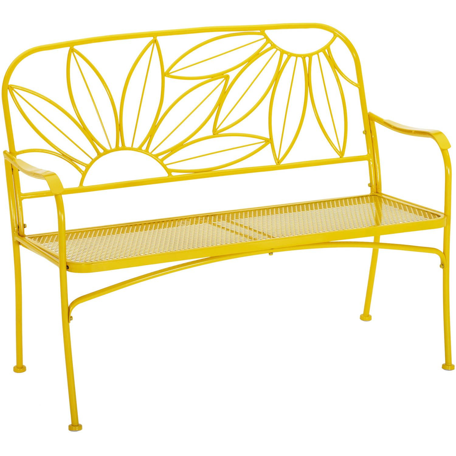 Mainstays Hello Sunny Outdoor Patio Bench, Yellow | Patio Pertaining To Michelle Metal Garden Benches (View 4 of 25)