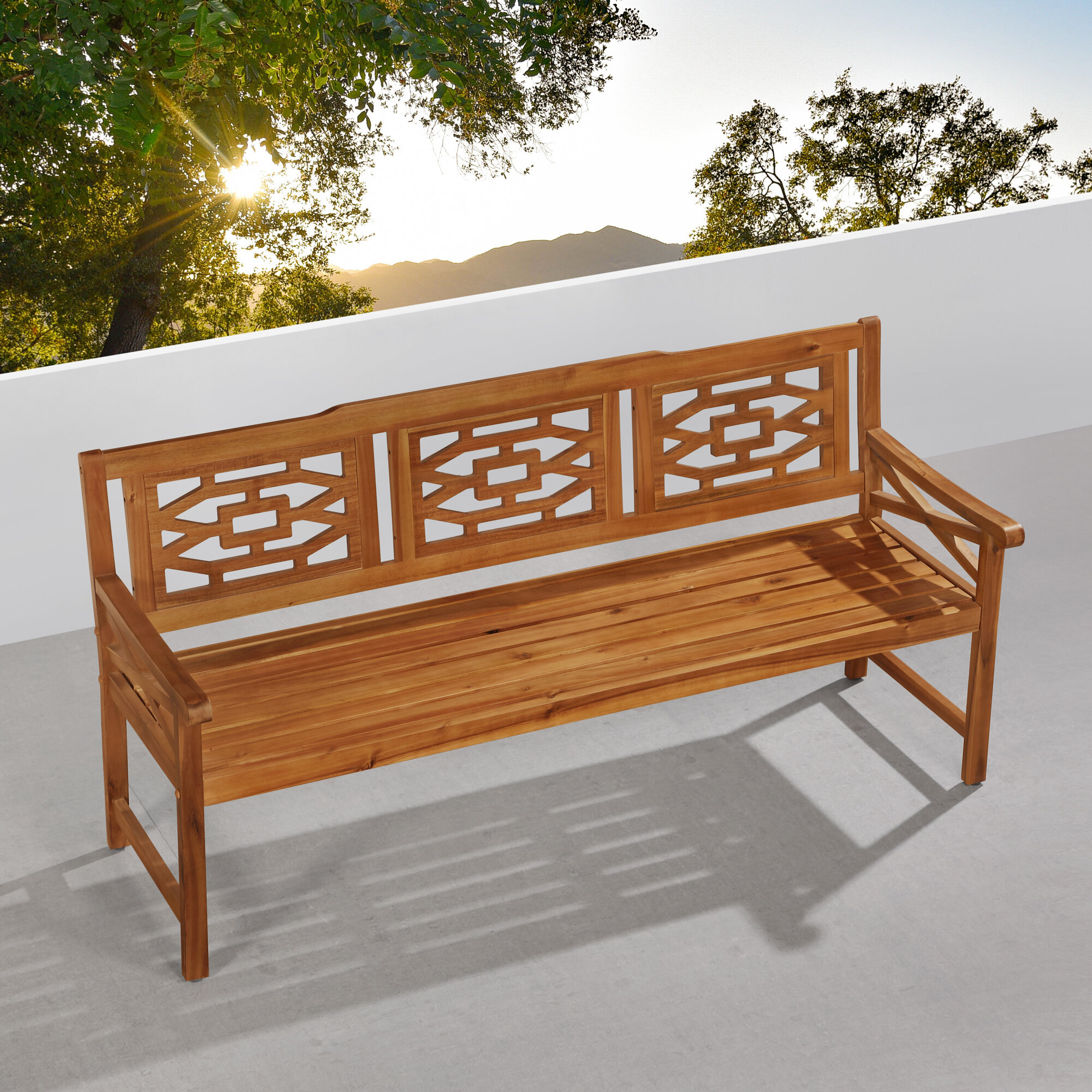 Malay Wooden Garden Bench Pertaining To Harpersfield Wooden Garden Benches (View 18 of 25)
