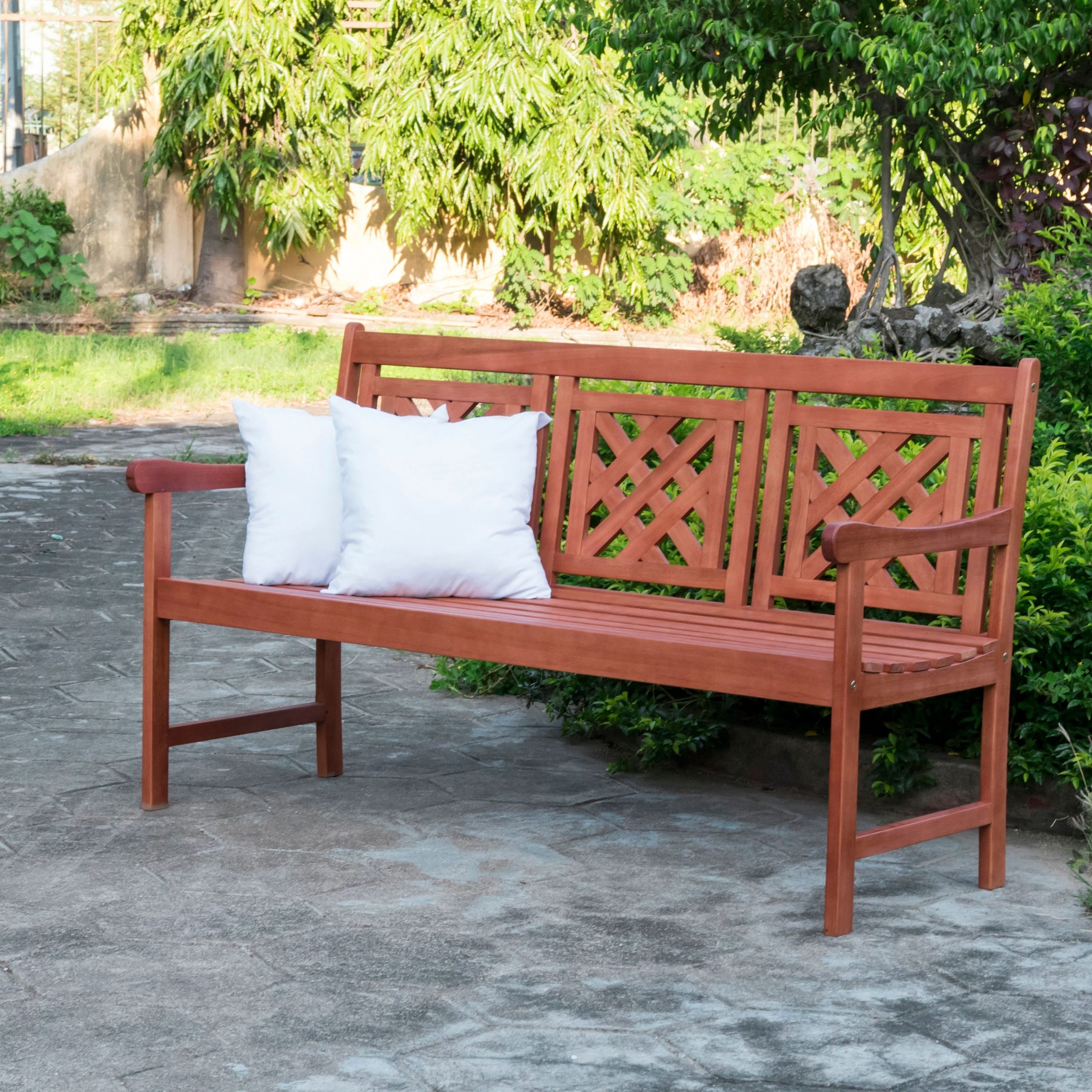 Malibu 5Ft Outdoor Plaid Eucalyptus Hardwood Bench In 2020 For Amabel Wooden Garden Benches (View 11 of 25)