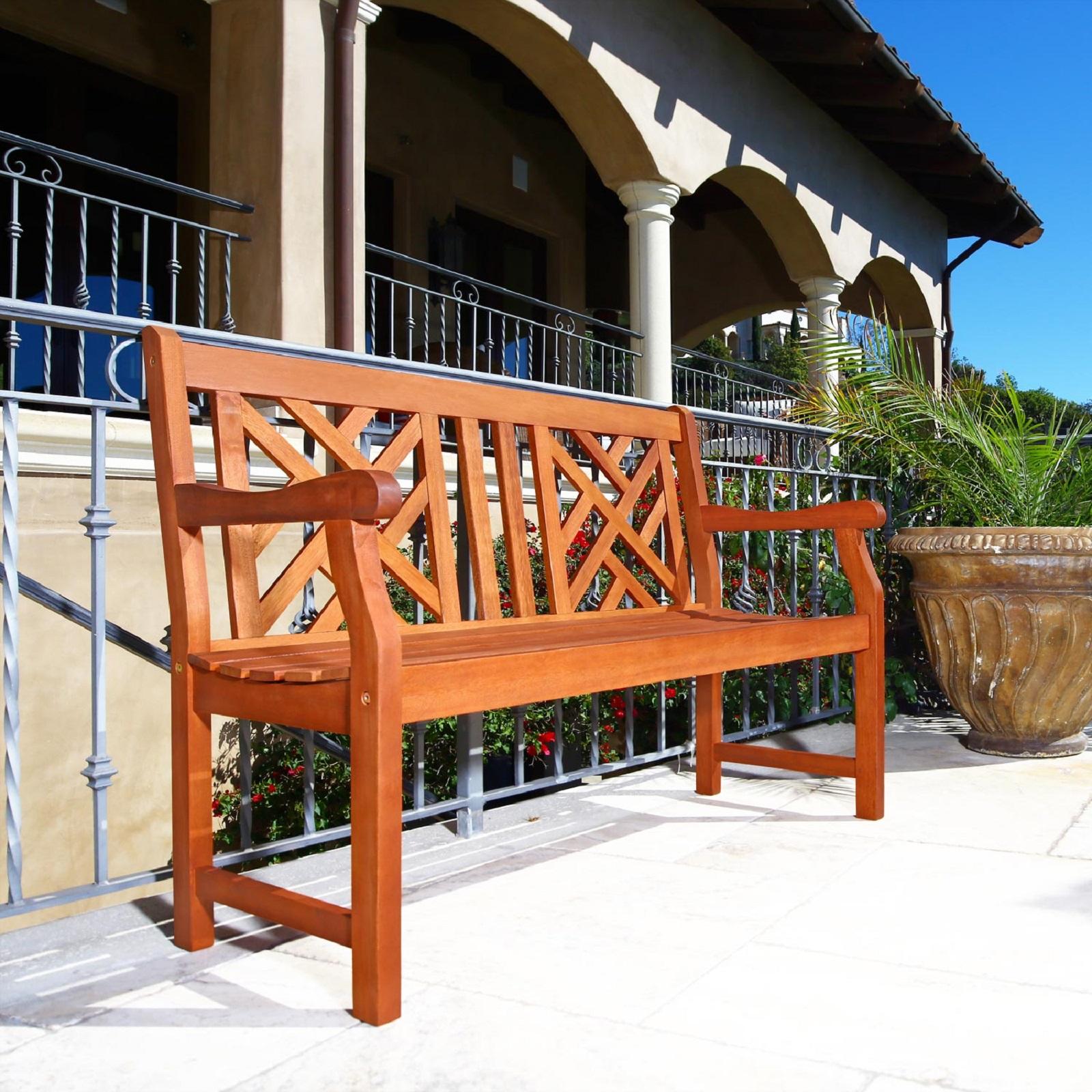 Malibu Outdoor Patio 4 Foot Wood Garden Bench – Walmart Throughout Maliyah Wooden Garden Benches (View 12 of 25)