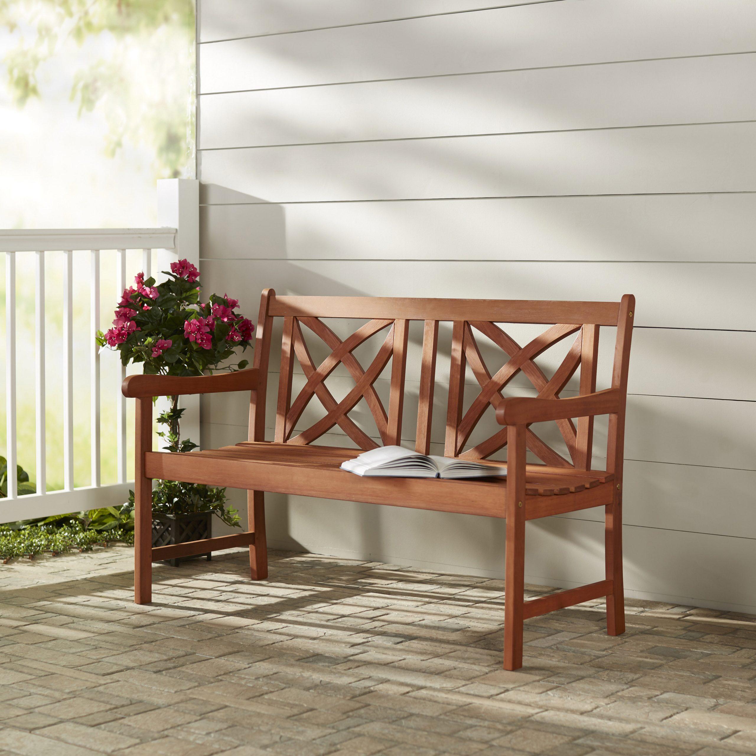 Maliyah Solid Wood Garden Bench Regarding Avoca Wood Garden Benches (View 7 of 25)