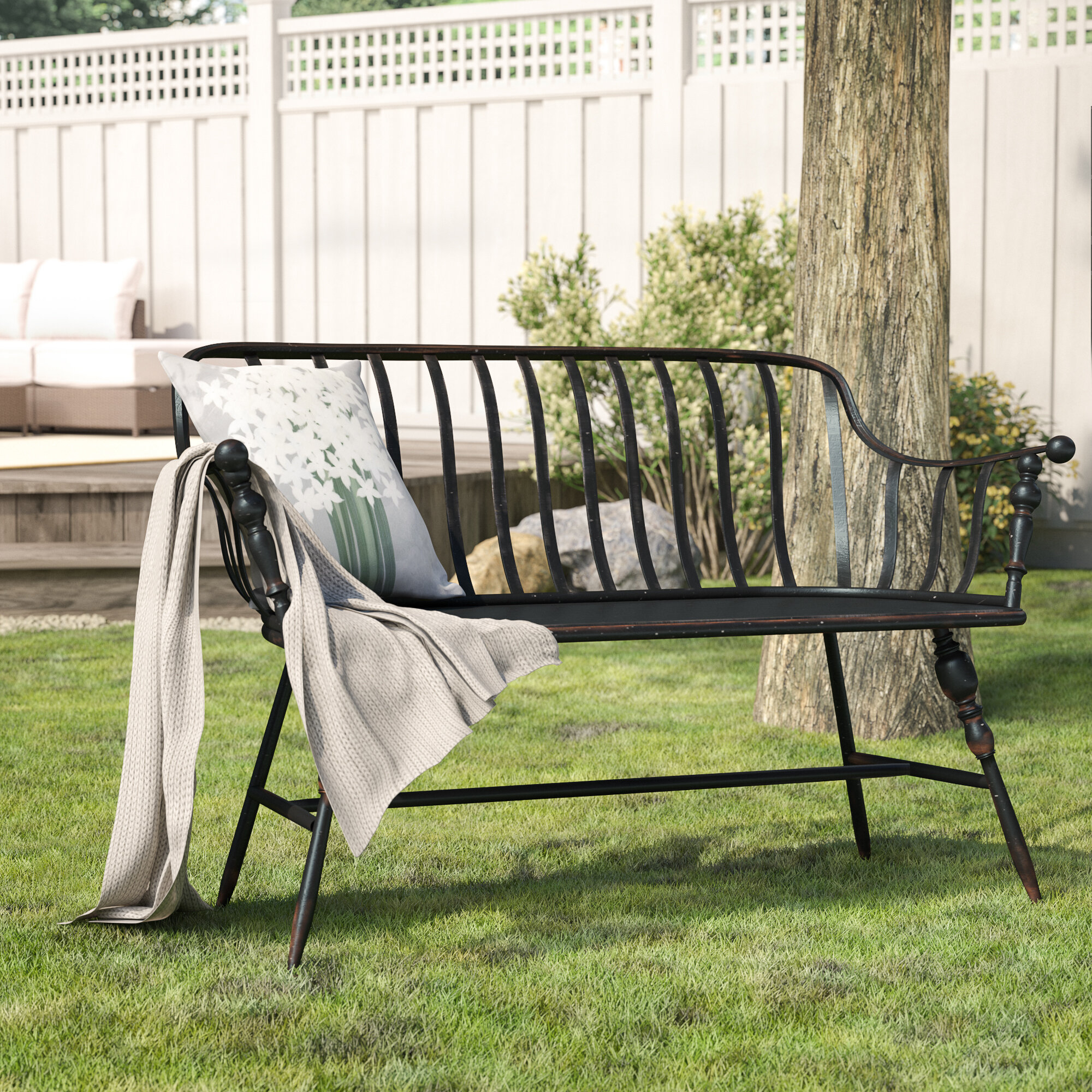 Marchant Metal Garden Bench Regarding Norrie Metal Garden Benches (View 6 of 25)